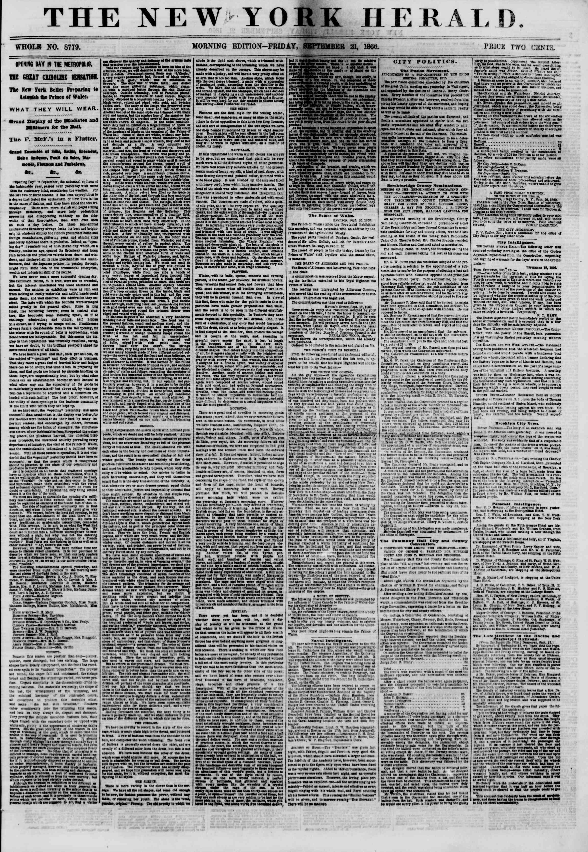 Newspaper of The New York Herald dated September 21, 1860 Page 1