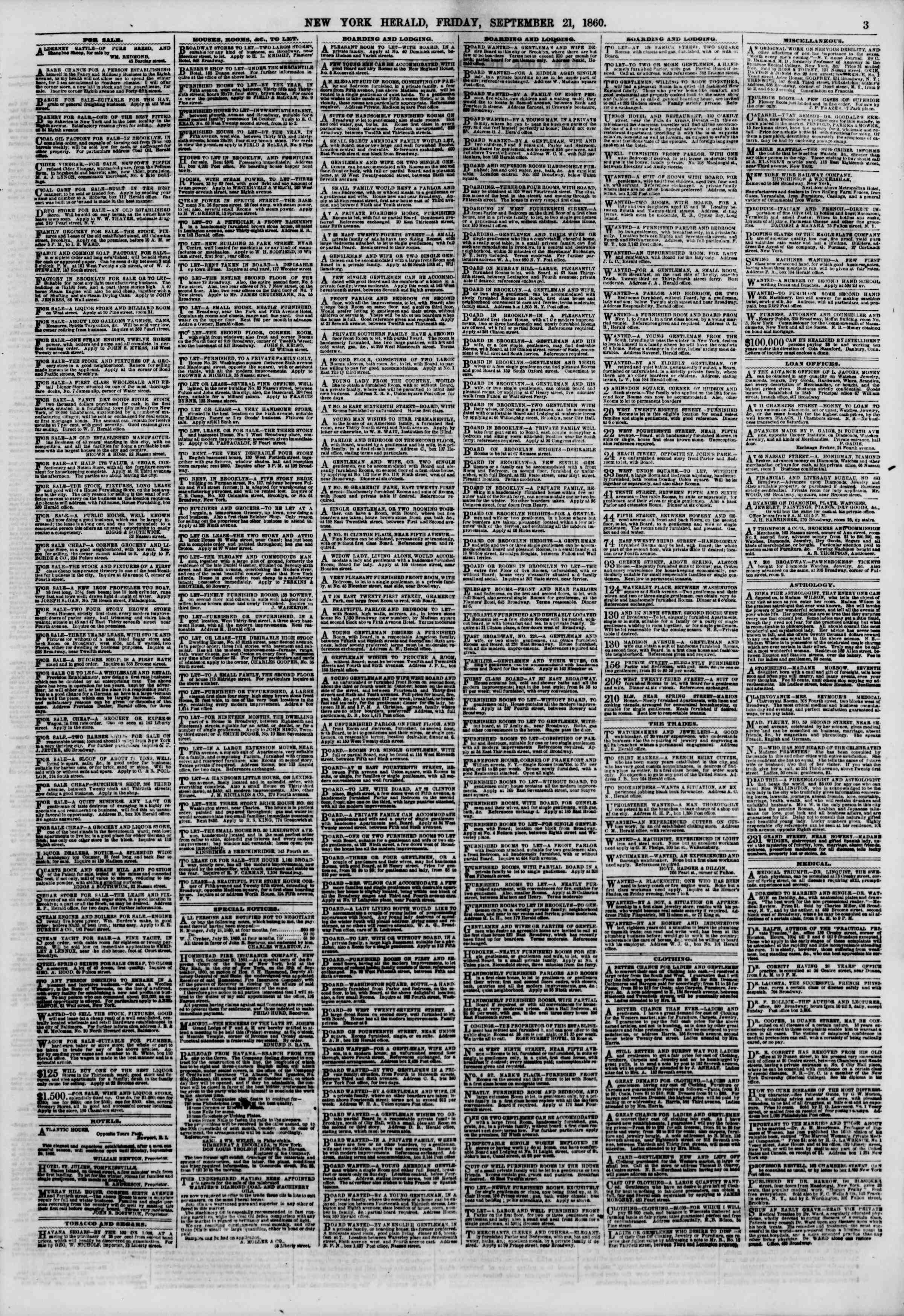 Newspaper of The New York Herald dated September 21, 1860 Page 3