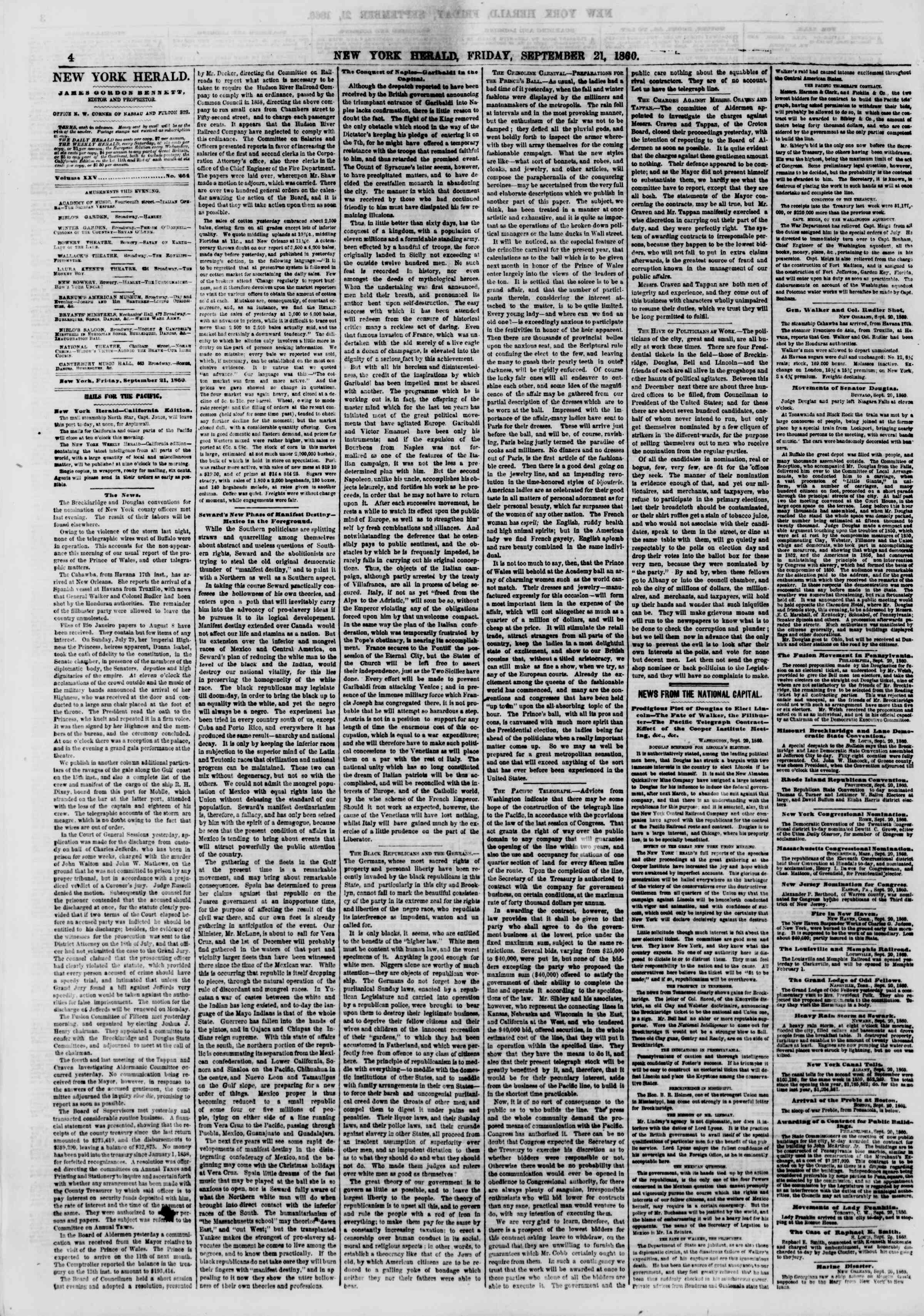 Newspaper of The New York Herald dated September 21, 1860 Page 4