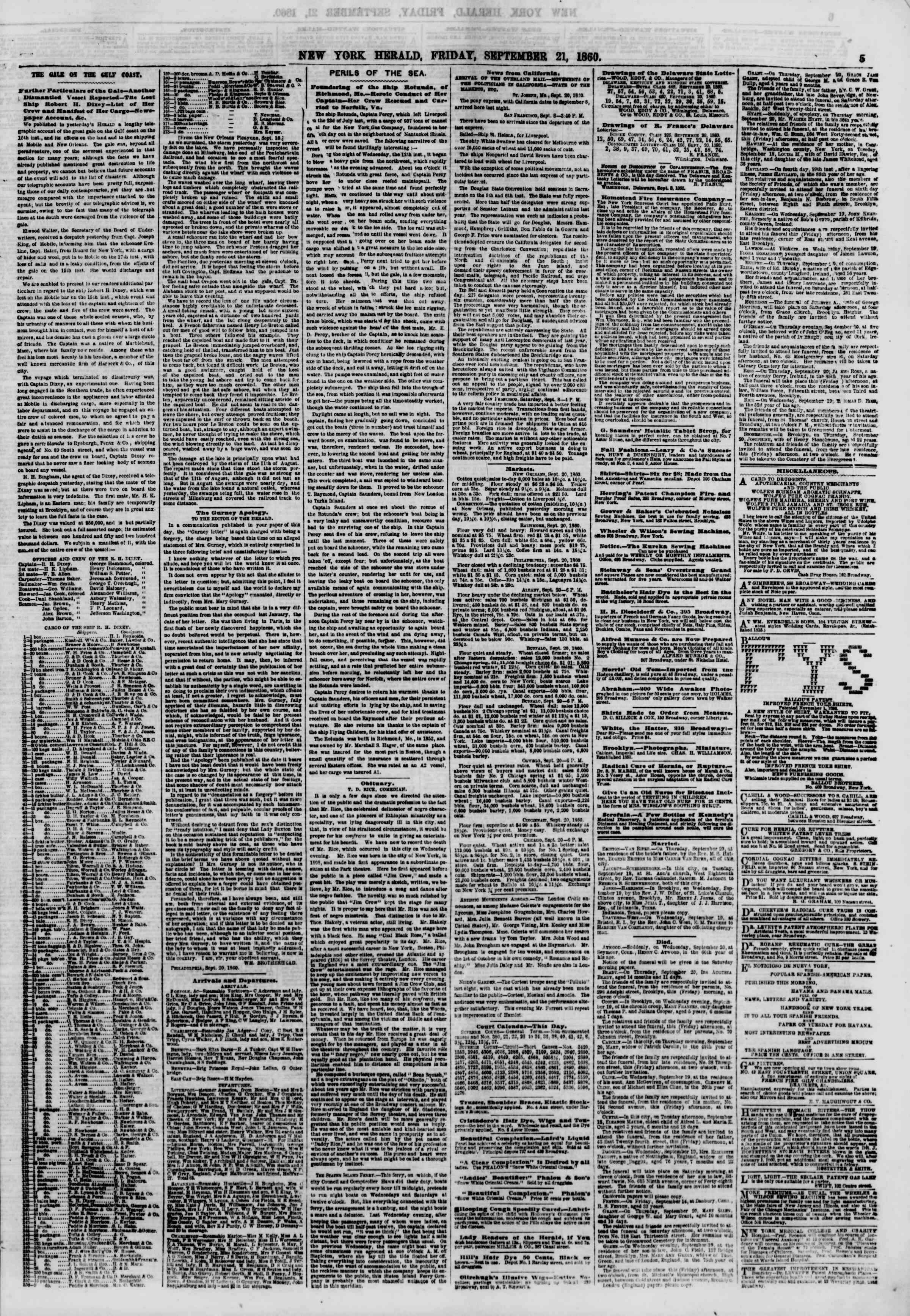 Newspaper of The New York Herald dated September 21, 1860 Page 5