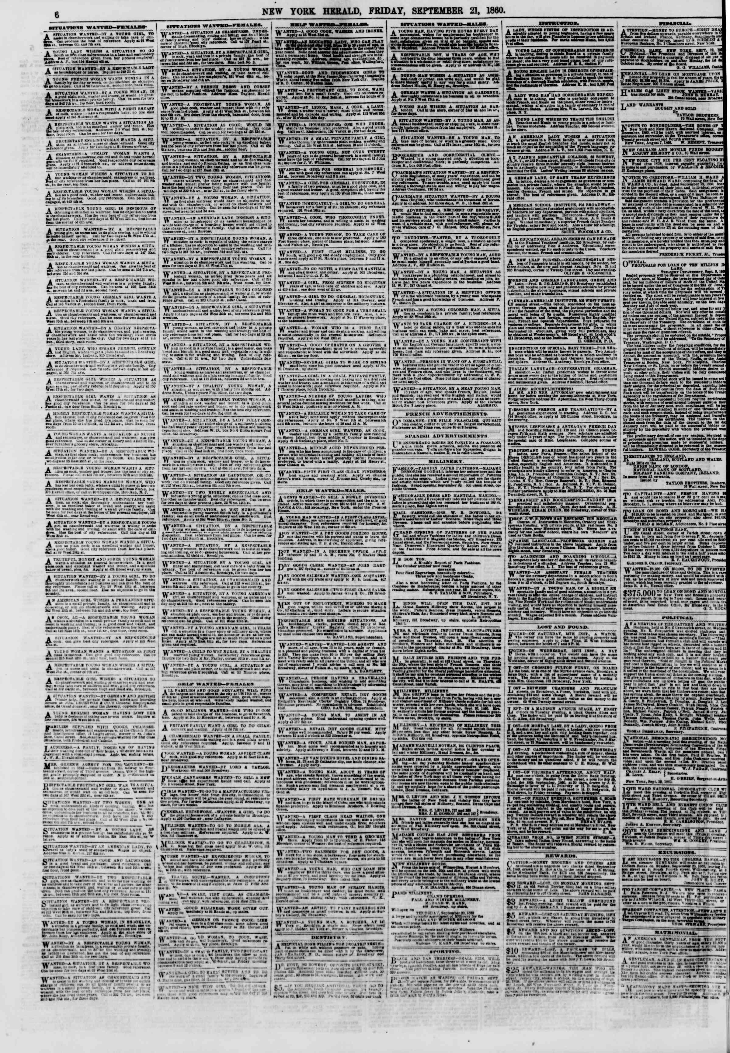 Newspaper of The New York Herald dated September 21, 1860 Page 6