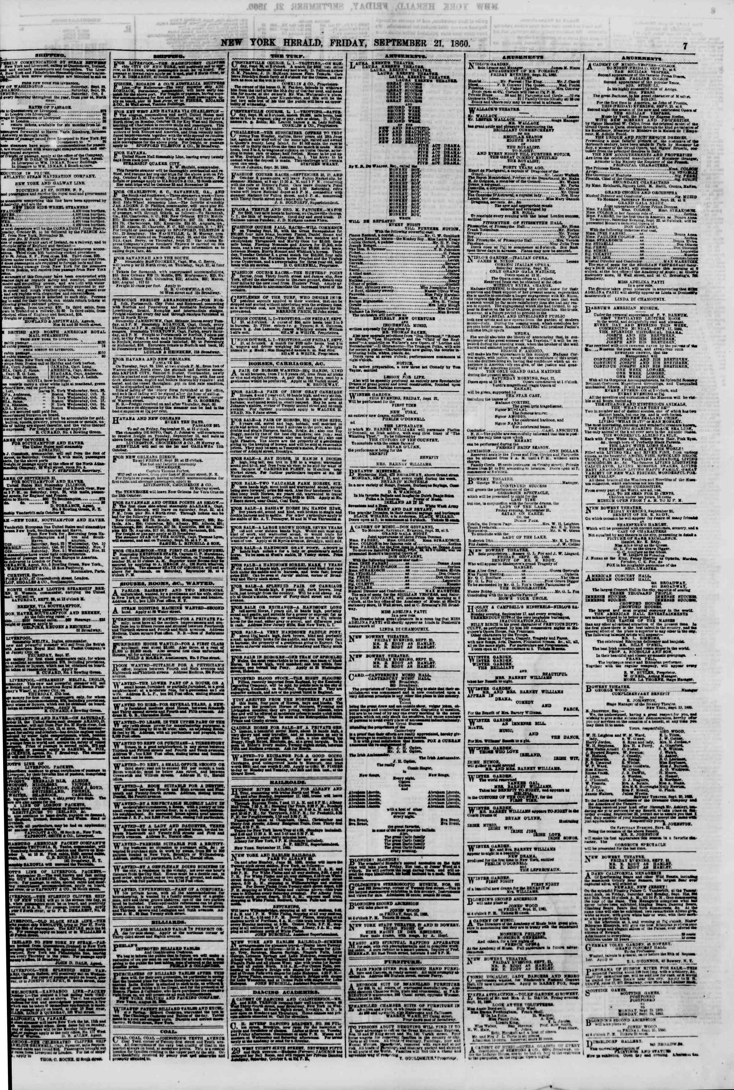 Newspaper of The New York Herald dated September 21, 1860 Page 7