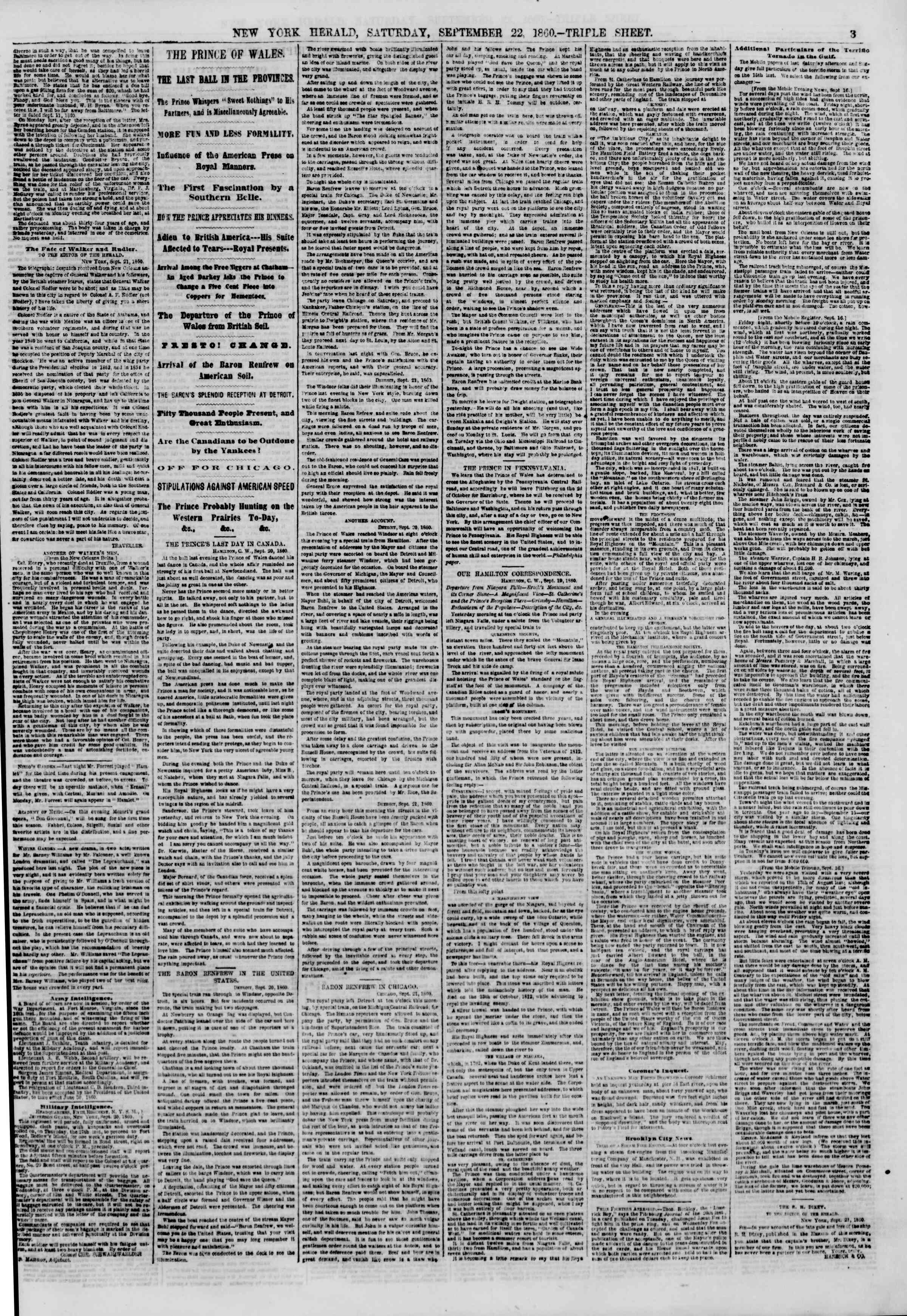 Newspaper of The New York Herald dated September 22, 1860 Page 3