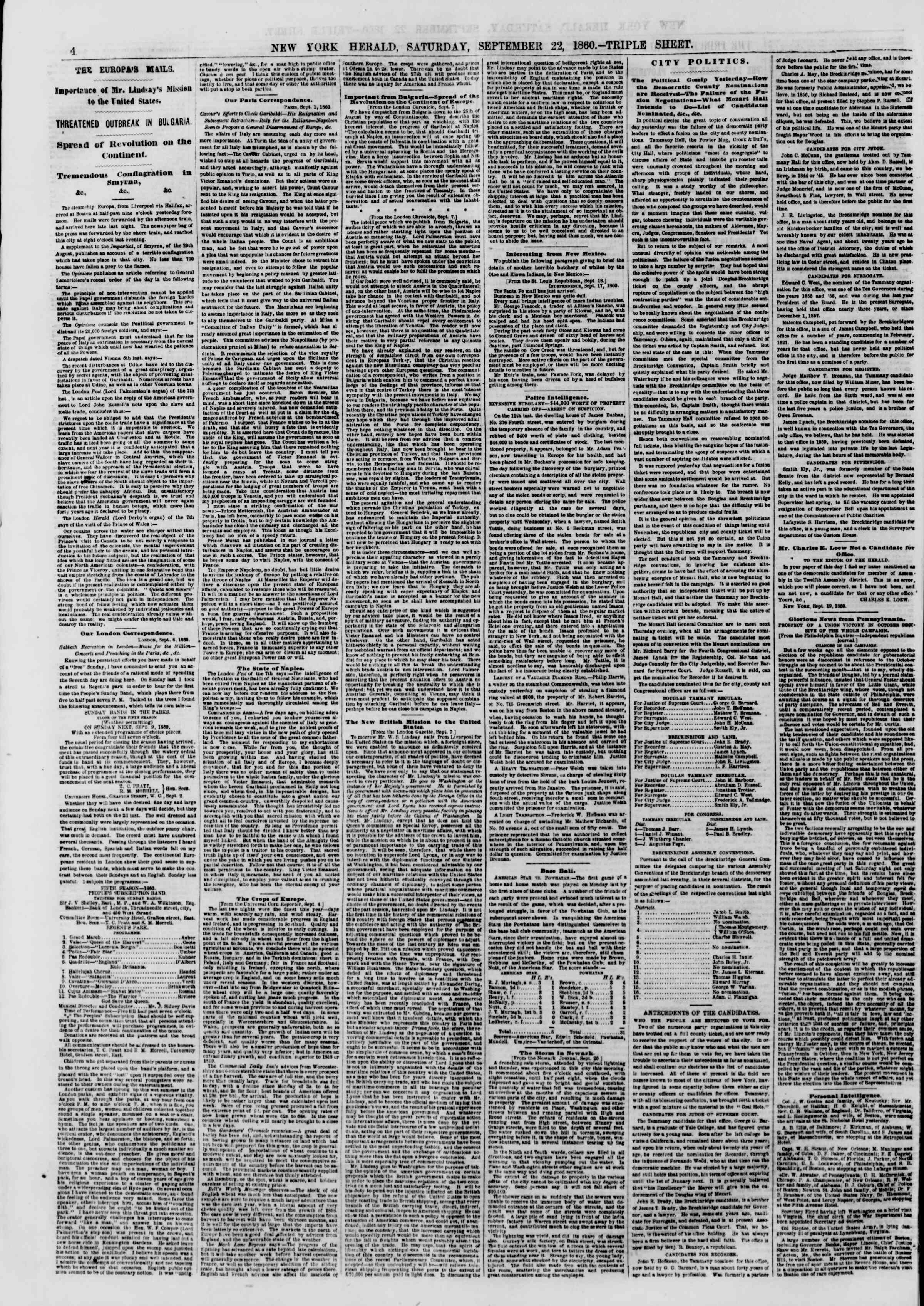 Newspaper of The New York Herald dated September 22, 1860 Page 4