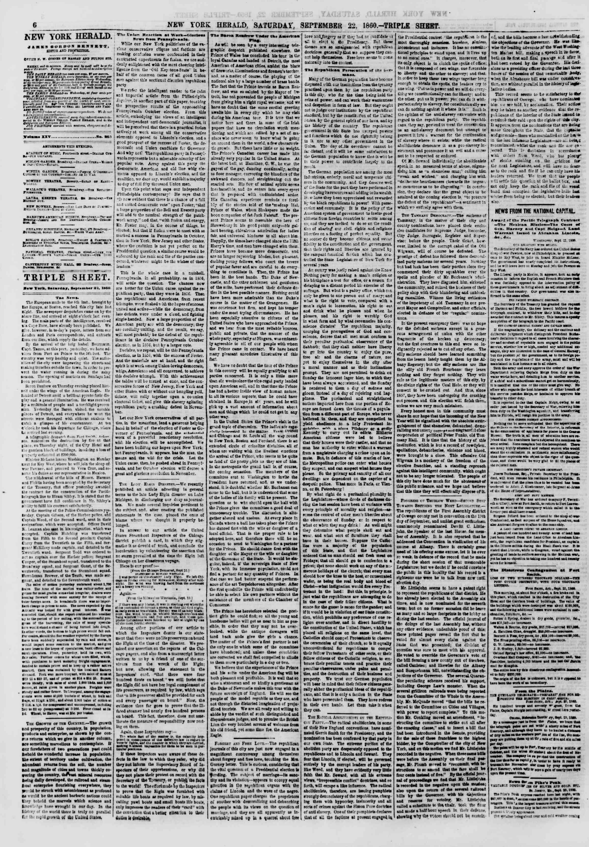 Newspaper of The New York Herald dated September 22, 1860 Page 6