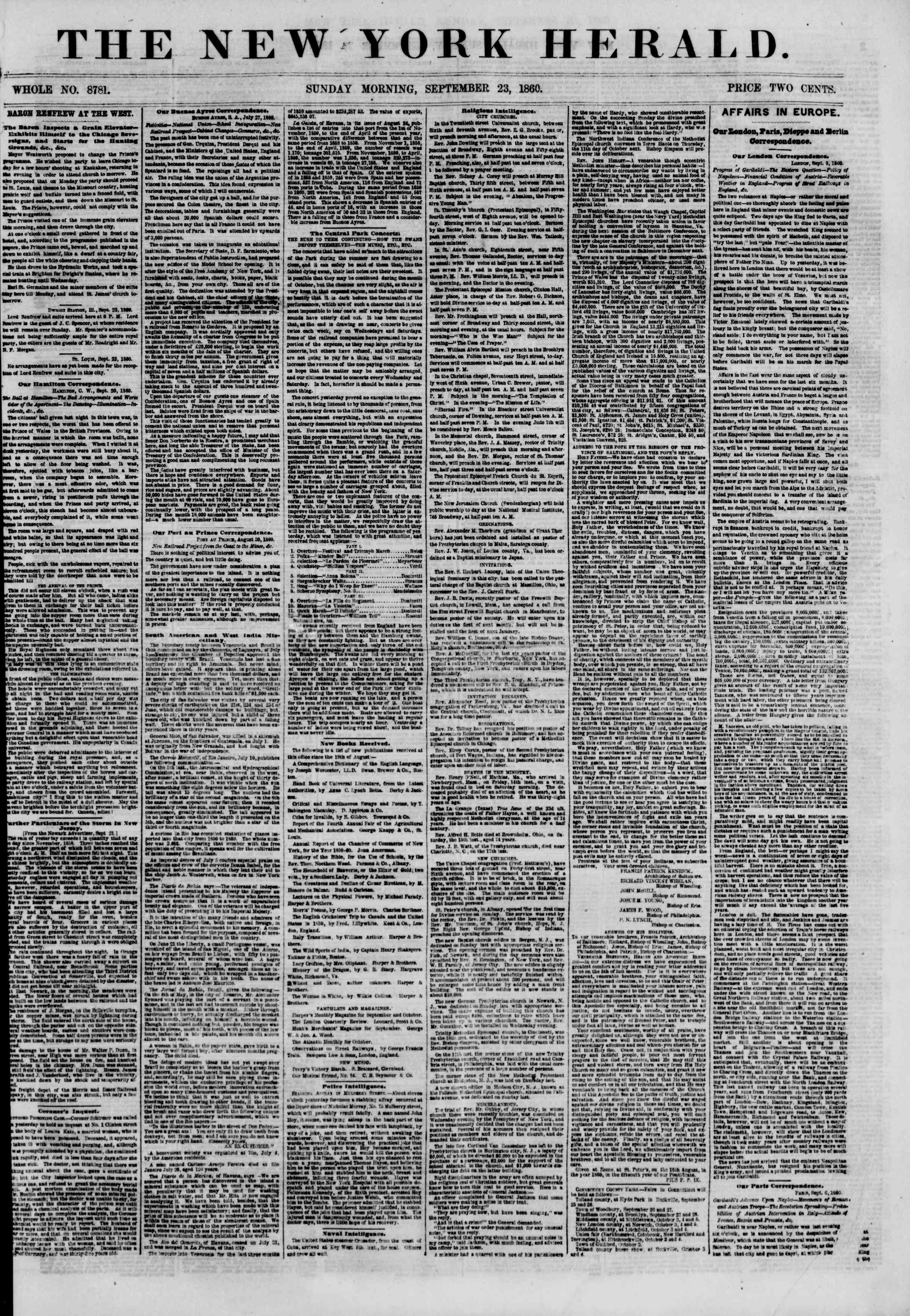 Newspaper of The New York Herald dated September 23, 1860 Page 1