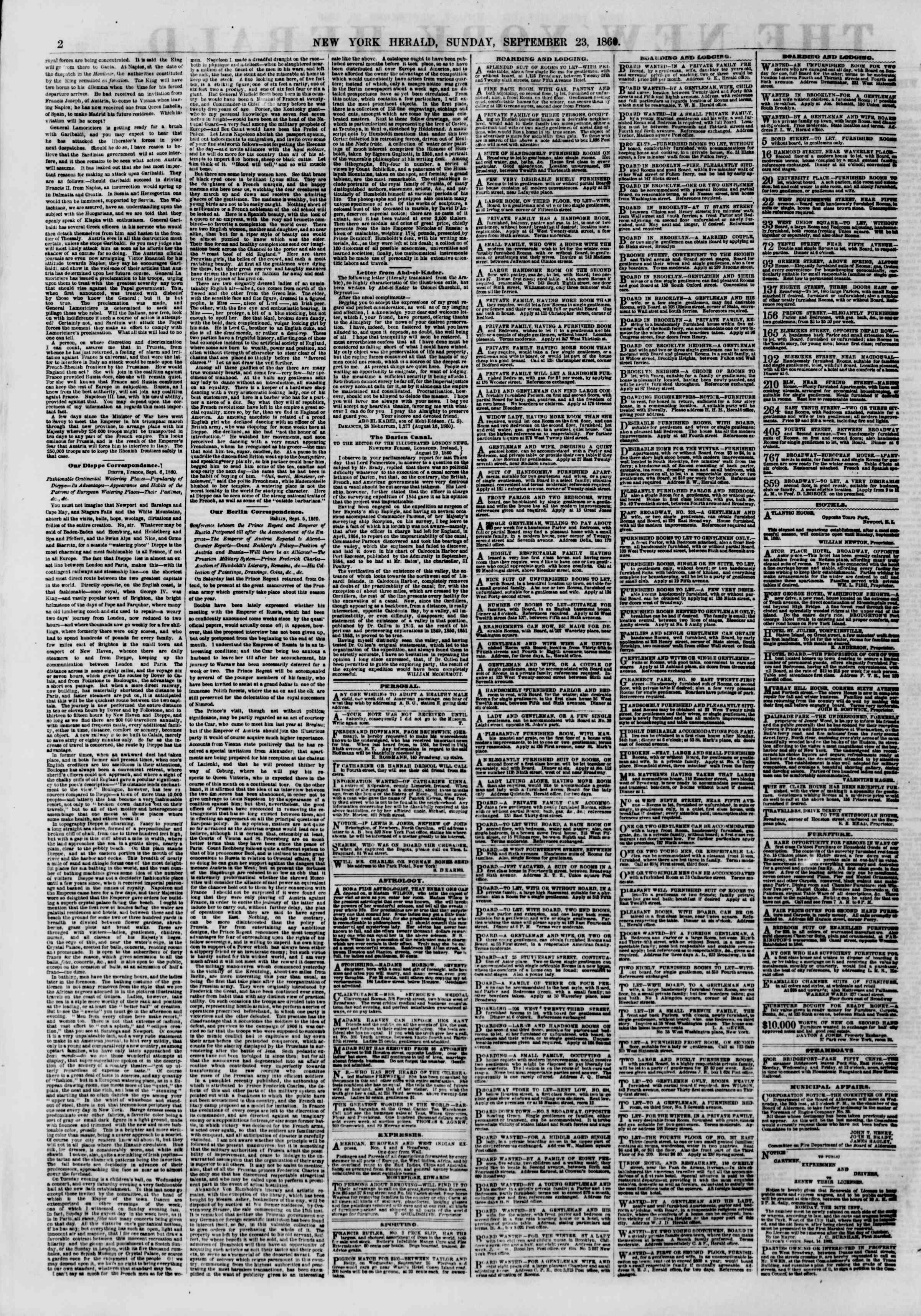 Newspaper of The New York Herald dated September 23, 1860 Page 2