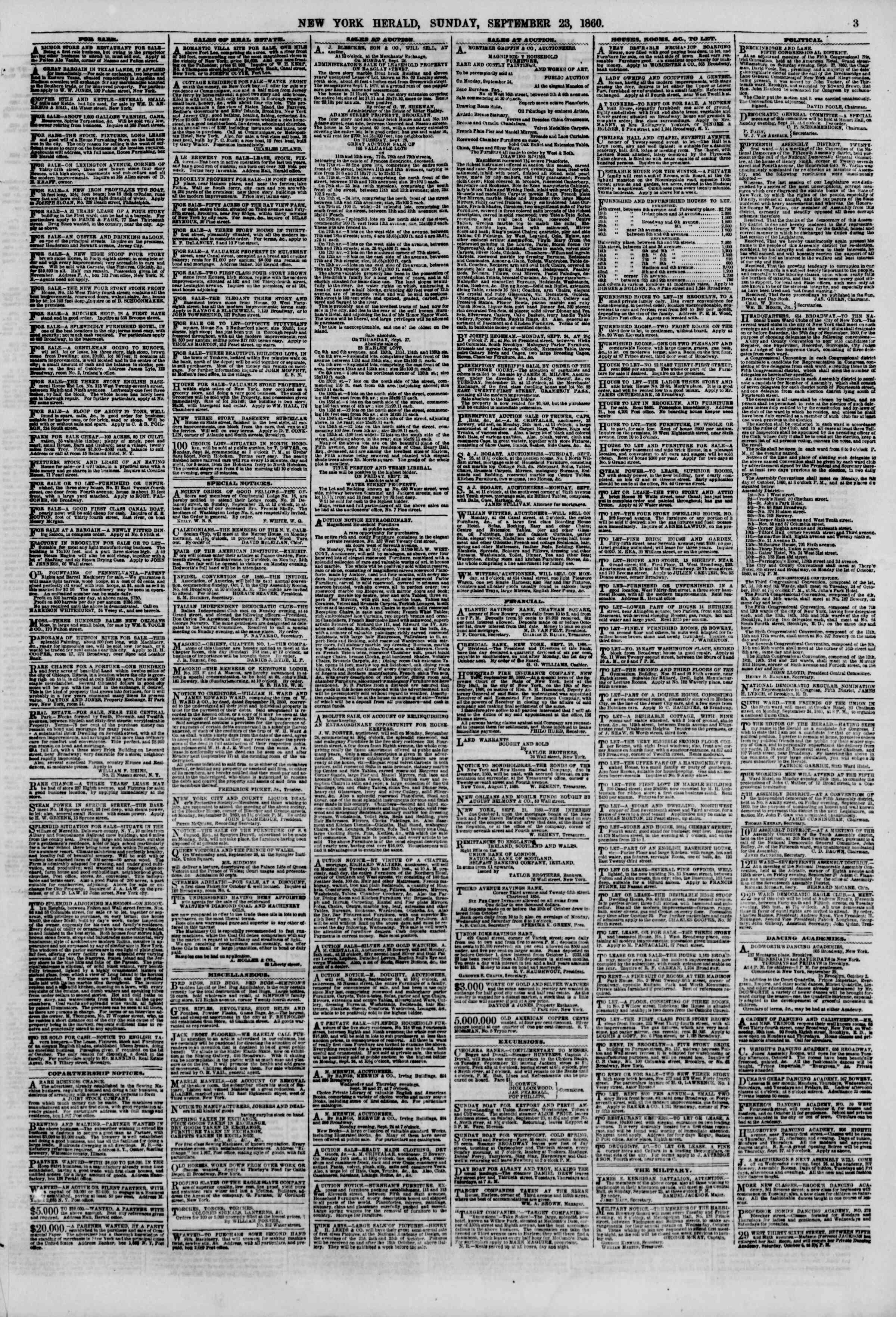Newspaper of The New York Herald dated September 23, 1860 Page 3