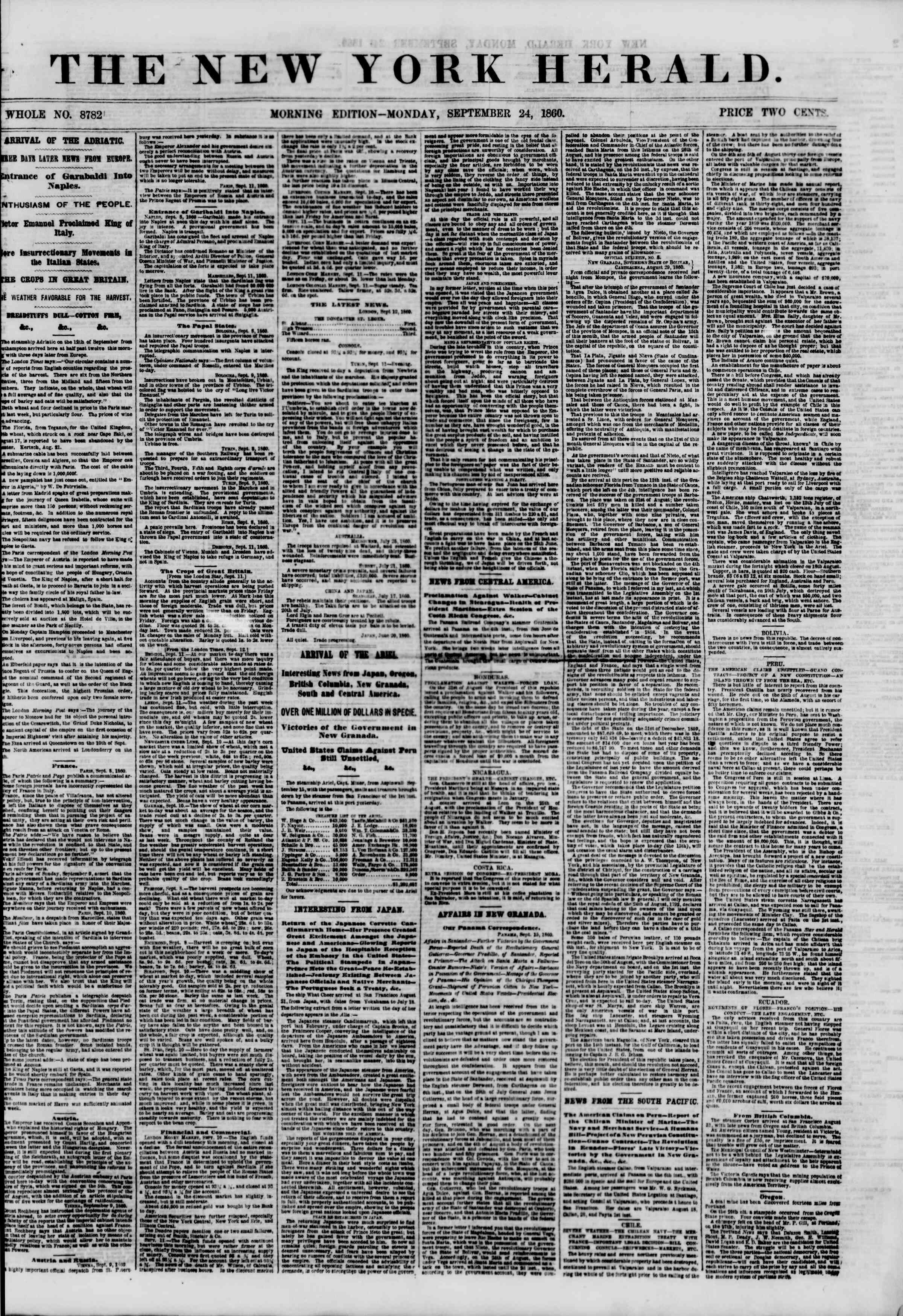 Newspaper of The New York Herald dated September 24, 1860 Page 1