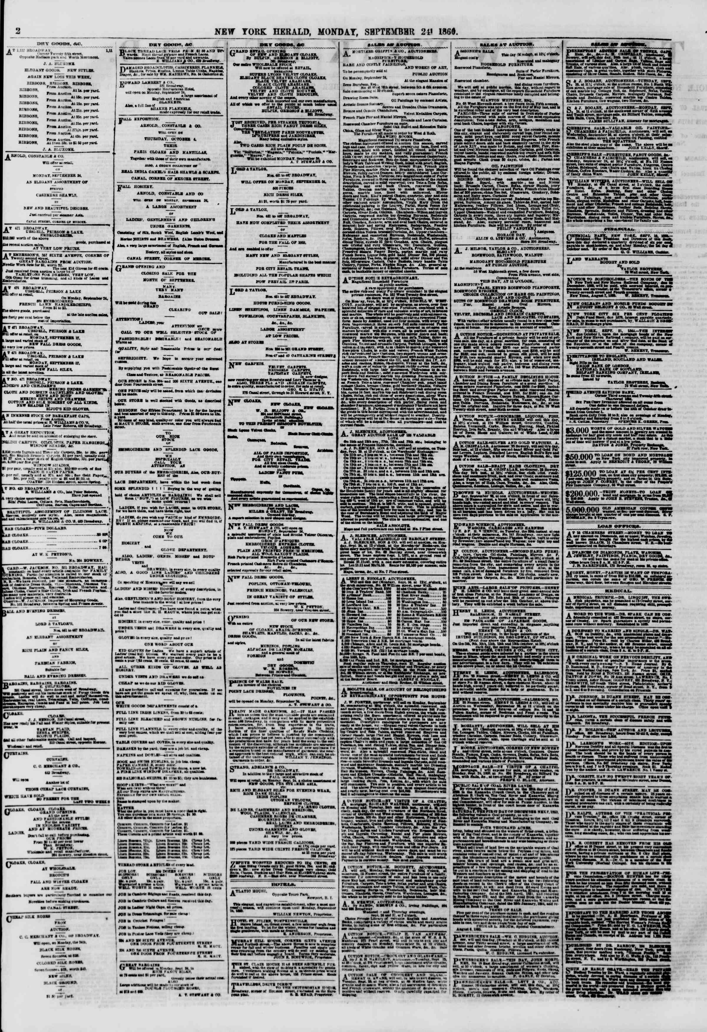 Newspaper of The New York Herald dated September 24, 1860 Page 2