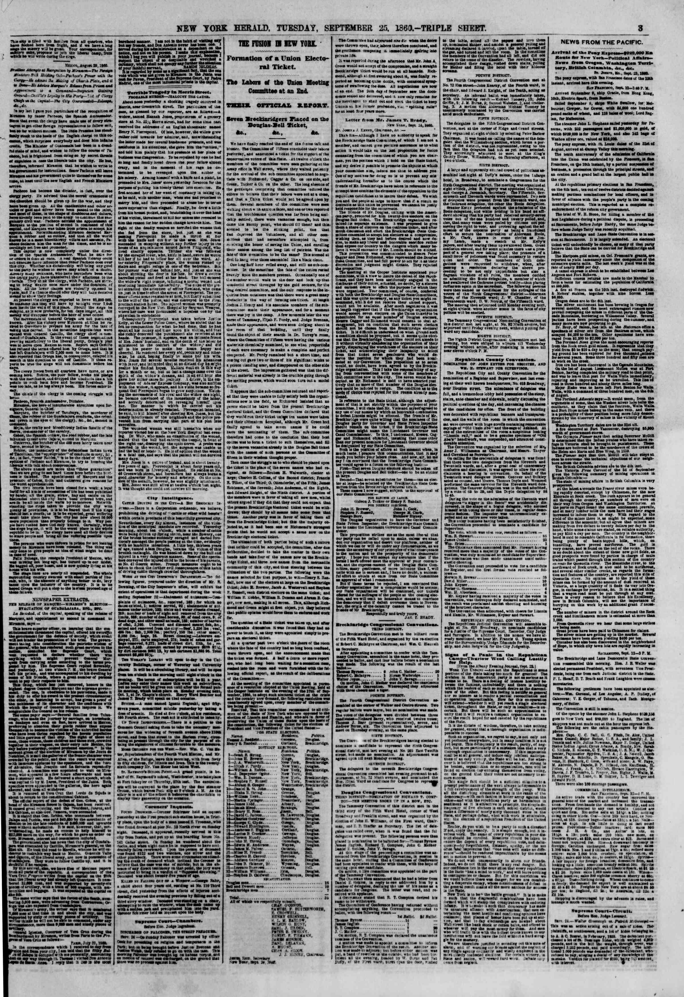 Newspaper of The New York Herald dated September 25, 1860 Page 3