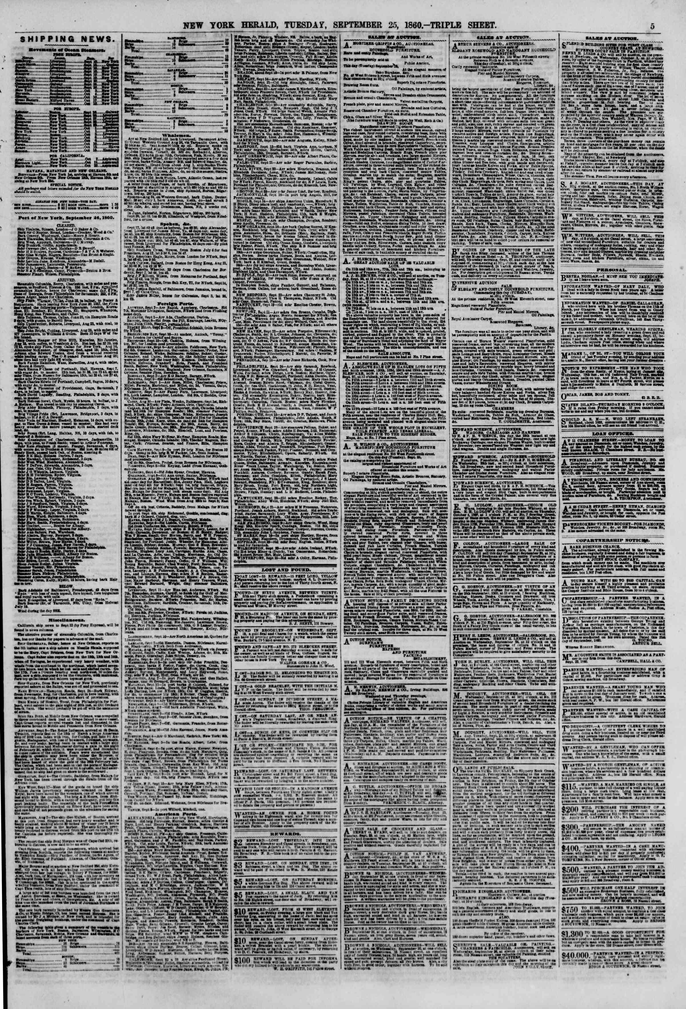 Newspaper of The New York Herald dated September 25, 1860 Page 5