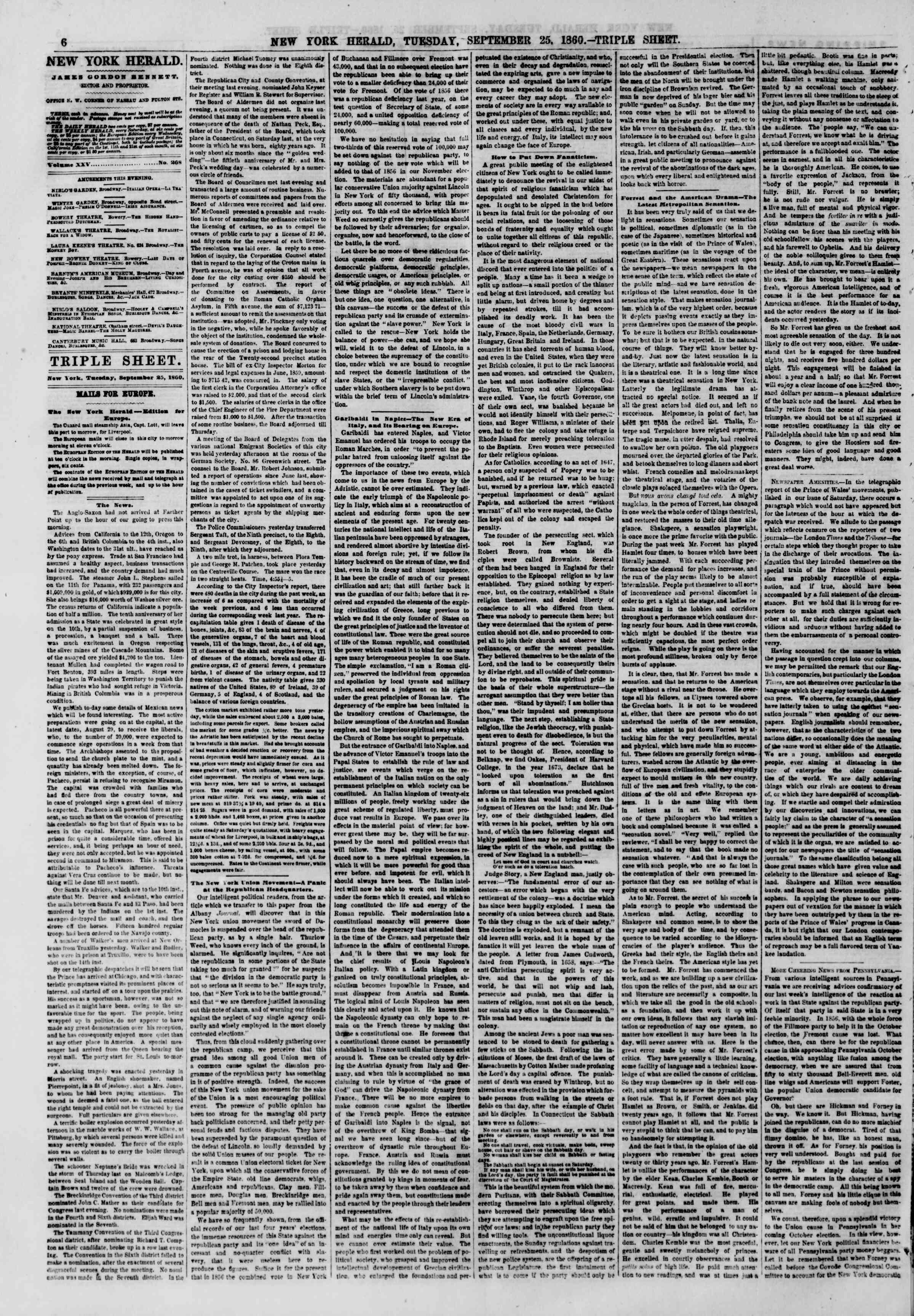Newspaper of The New York Herald dated September 25, 1860 Page 6