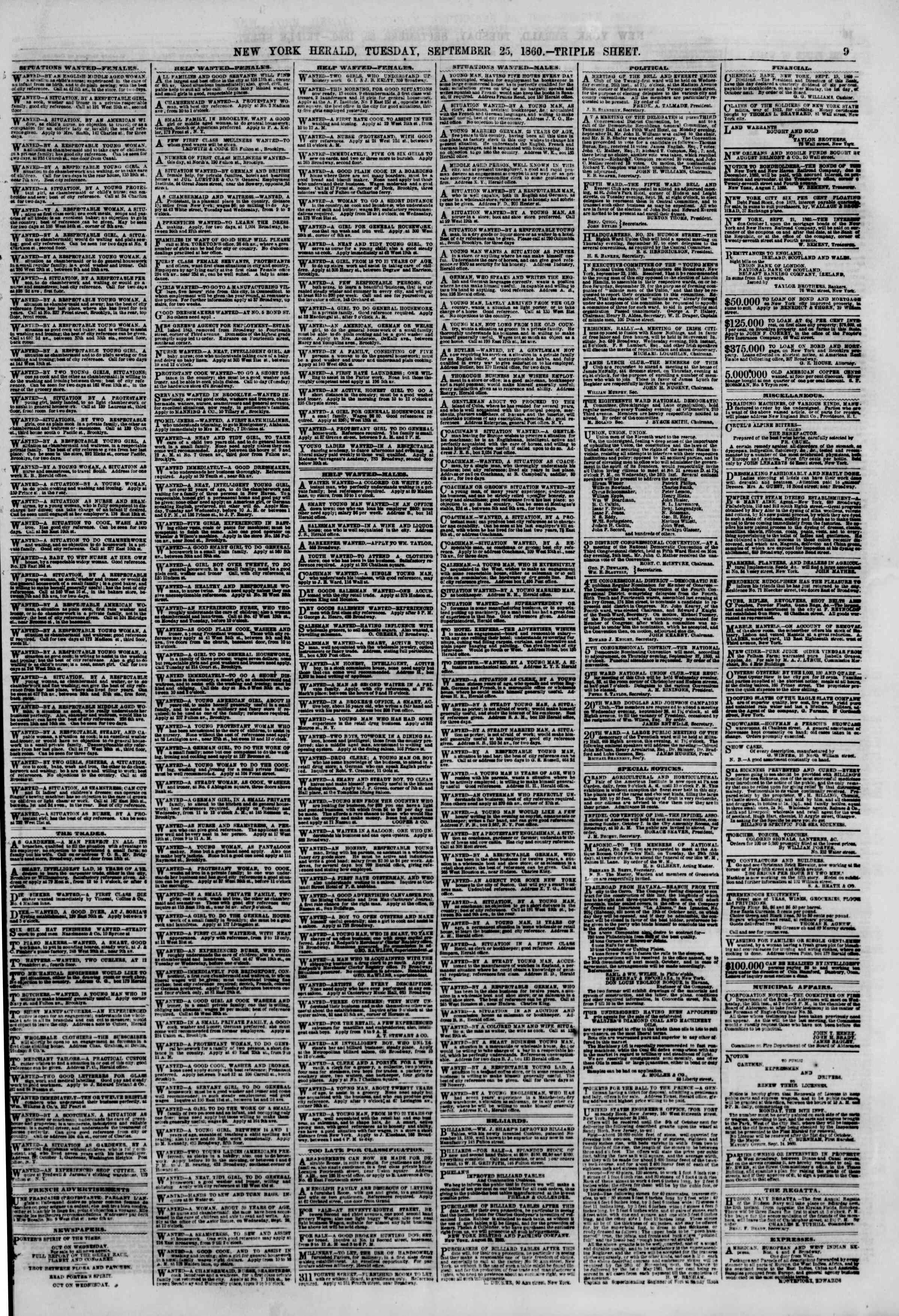 Newspaper of The New York Herald dated September 25, 1860 Page 9