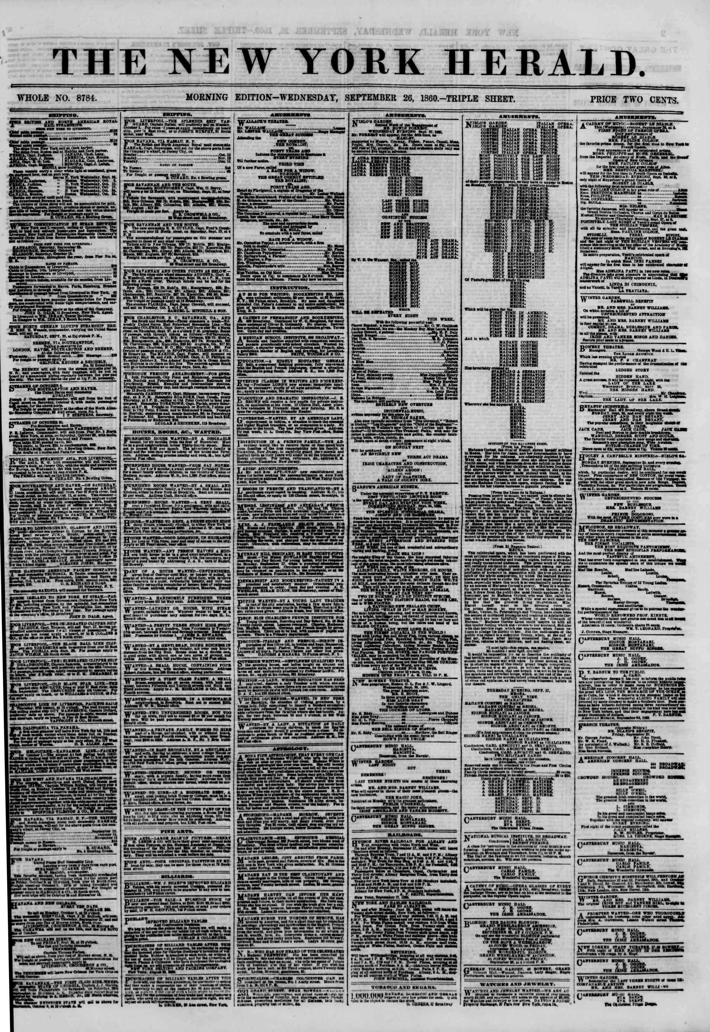 Newspaper of The New York Herald dated September 26, 1860 Page 1