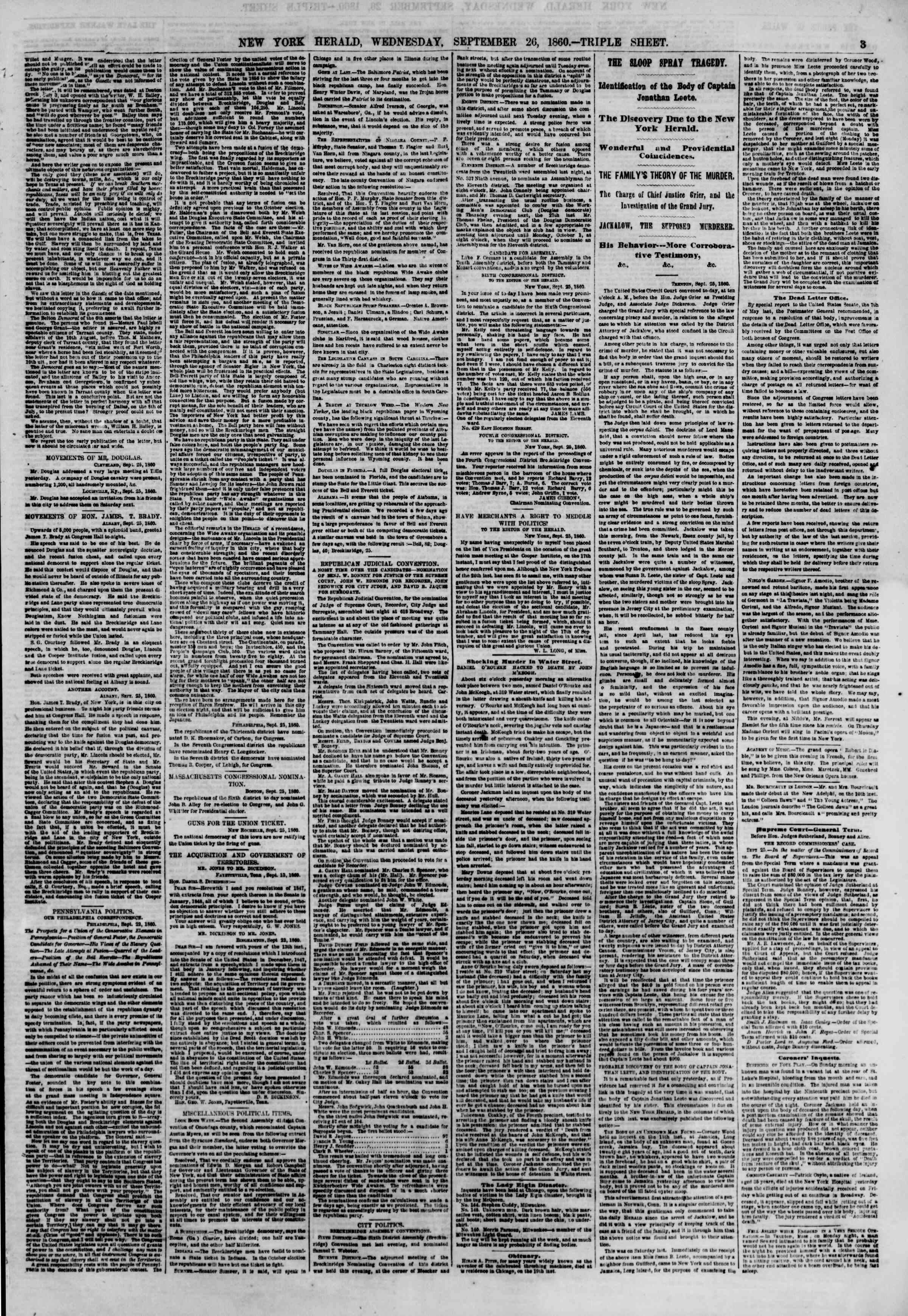 Newspaper of The New York Herald dated September 26, 1860 Page 3
