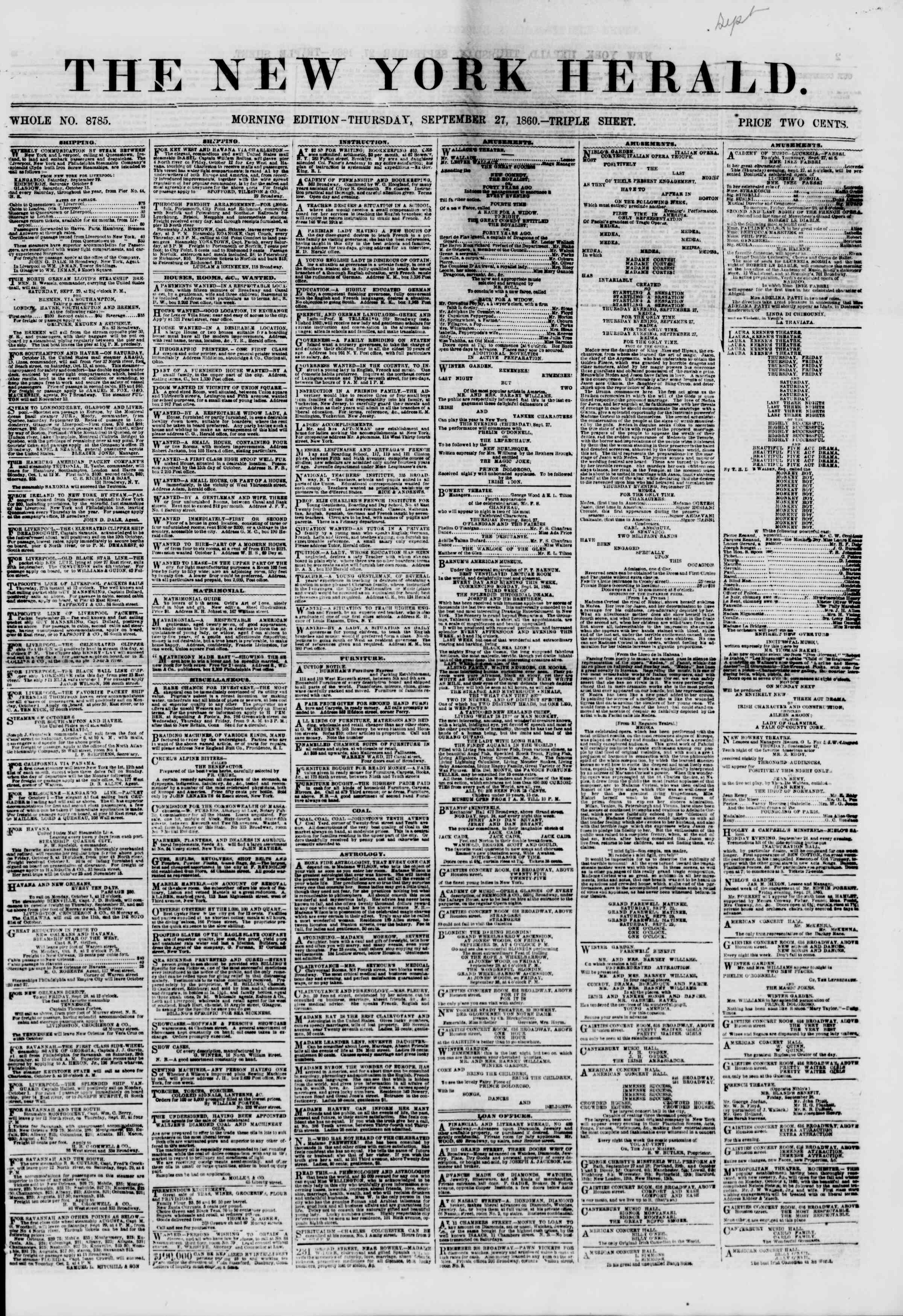 Newspaper of The New York Herald dated September 27, 1860 Page 1