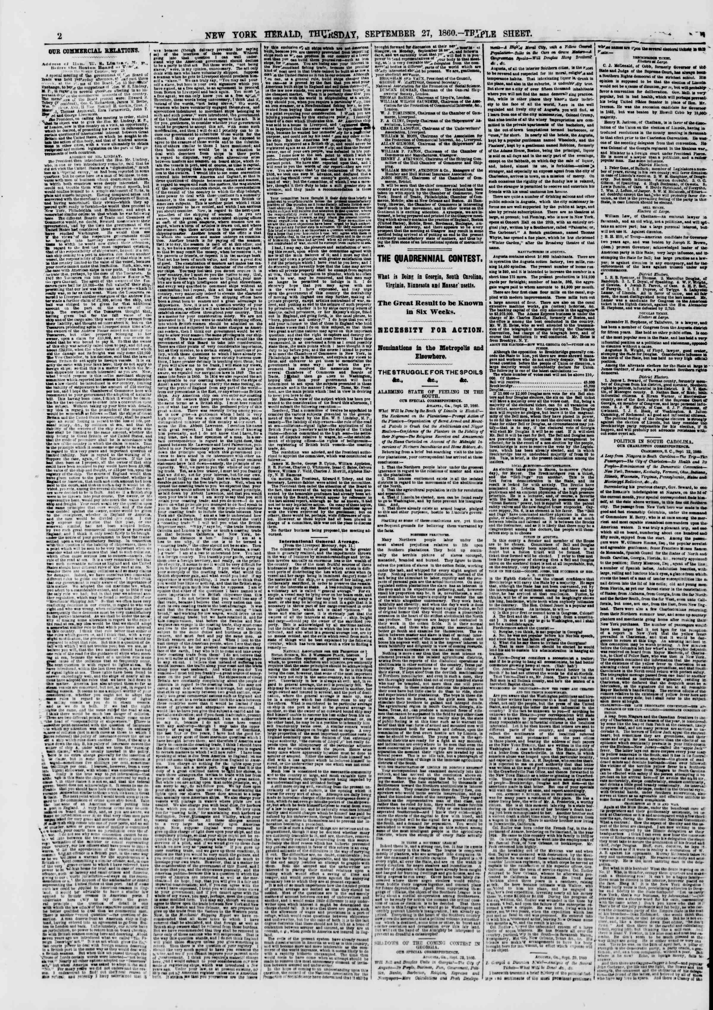 Newspaper of The New York Herald dated September 27, 1860 Page 2