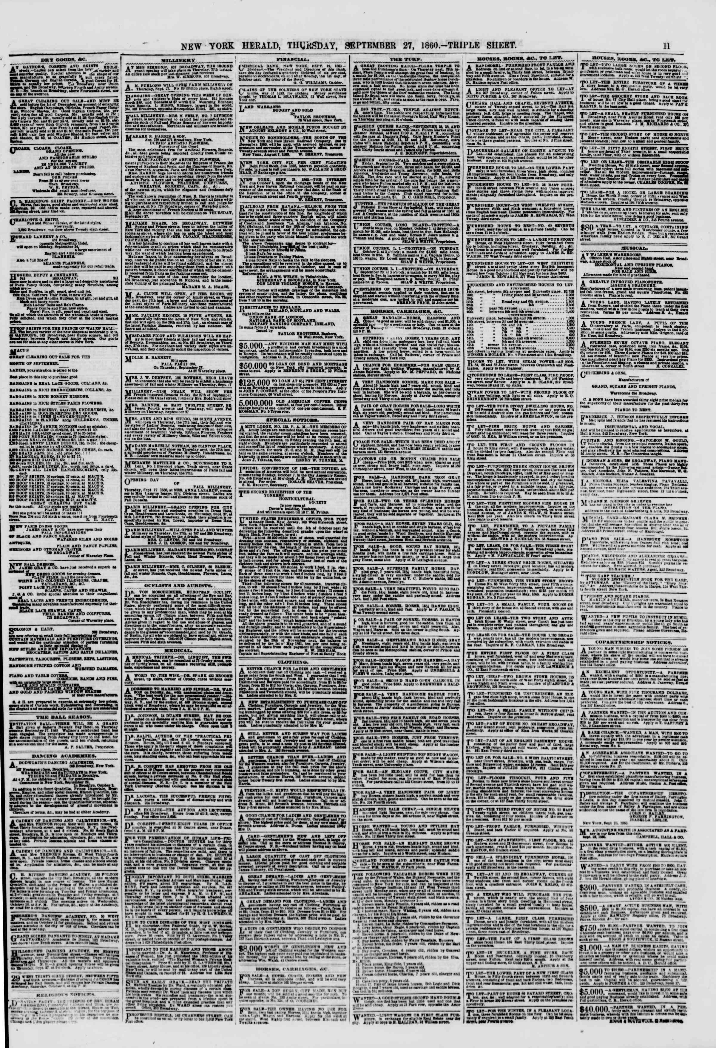 27 Eylül 1860 tarihli The New York Herald Gazetesi Sayfa 11