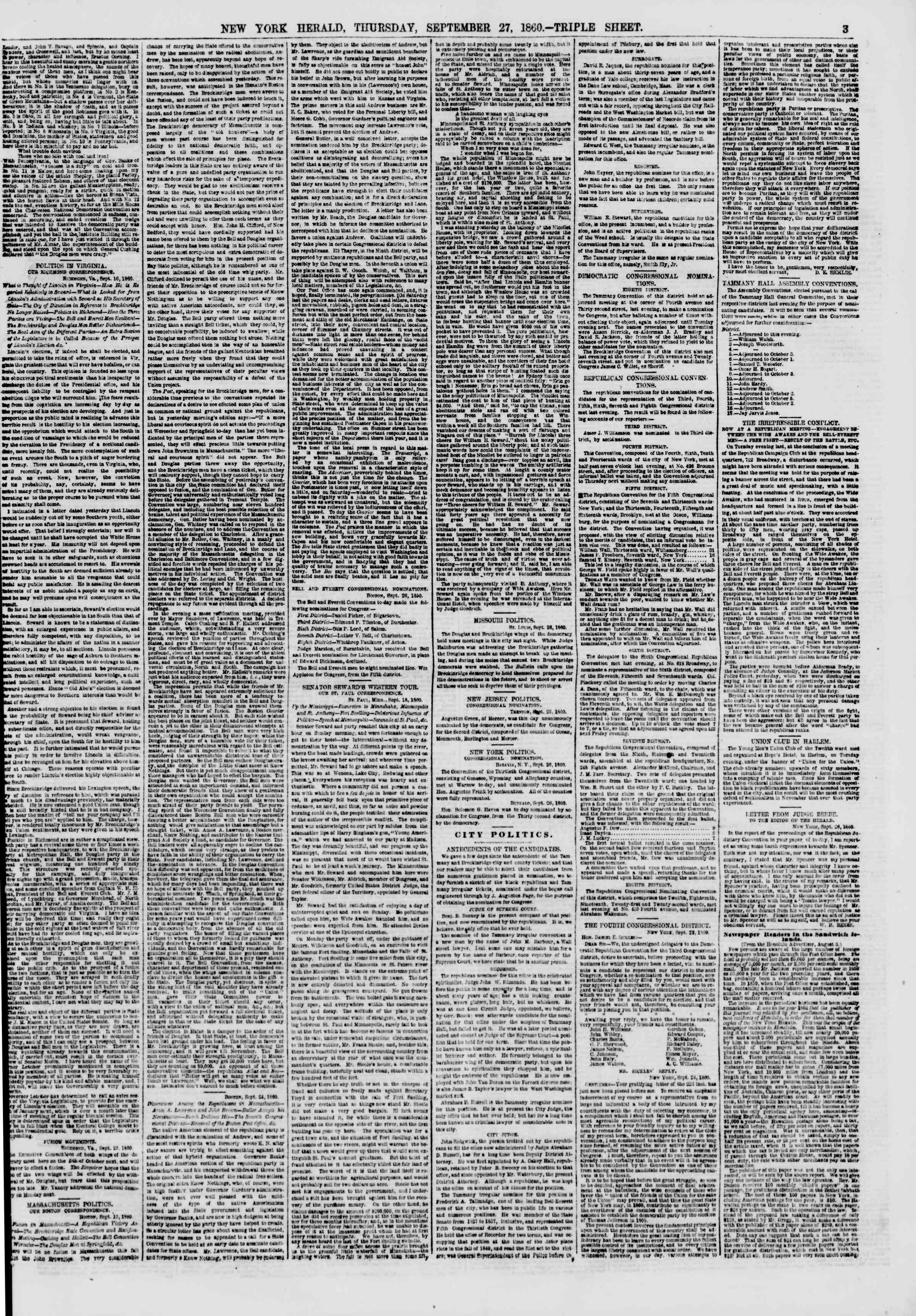 Newspaper of The New York Herald dated September 27, 1860 Page 3