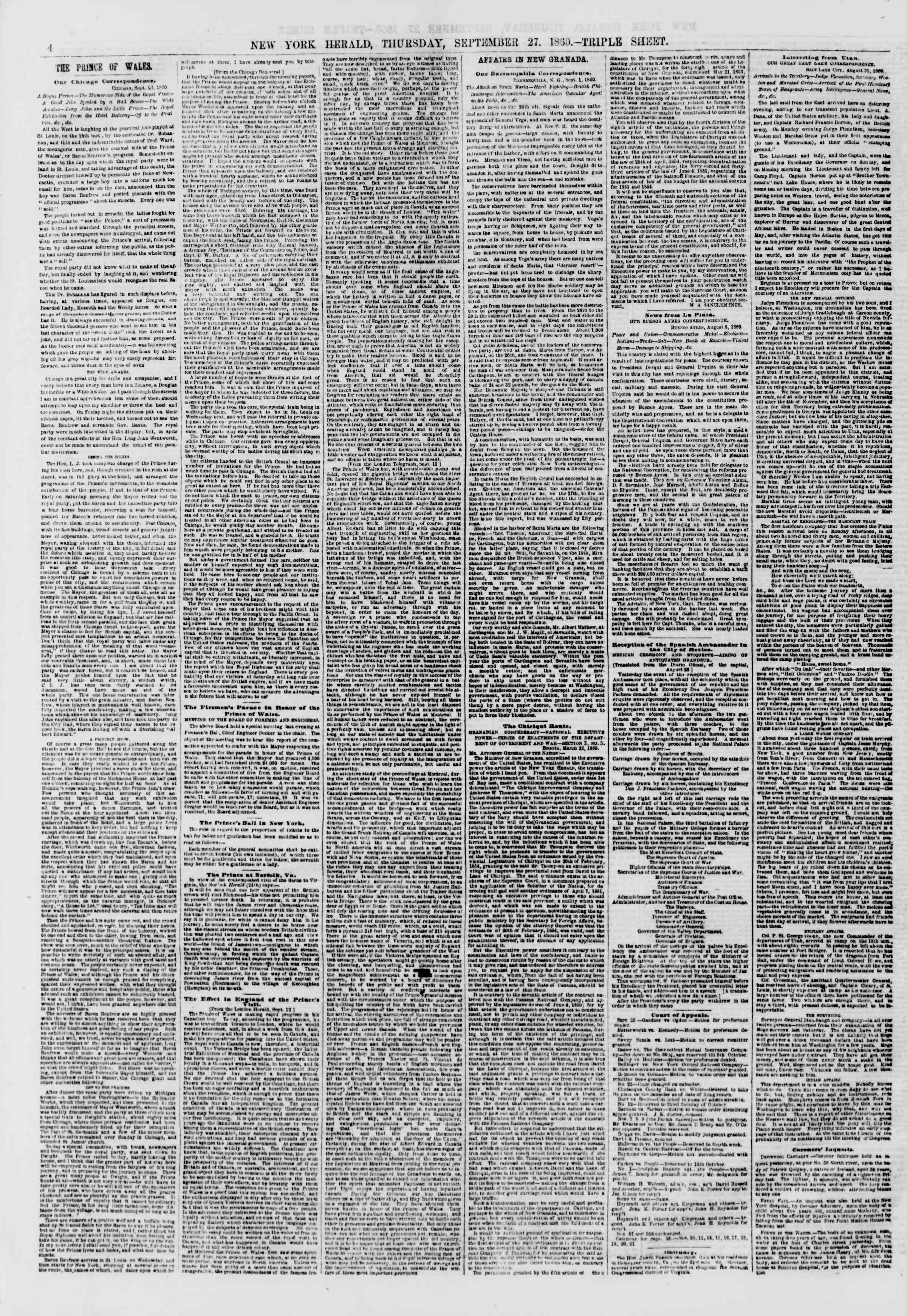 Newspaper of The New York Herald dated September 27, 1860 Page 4