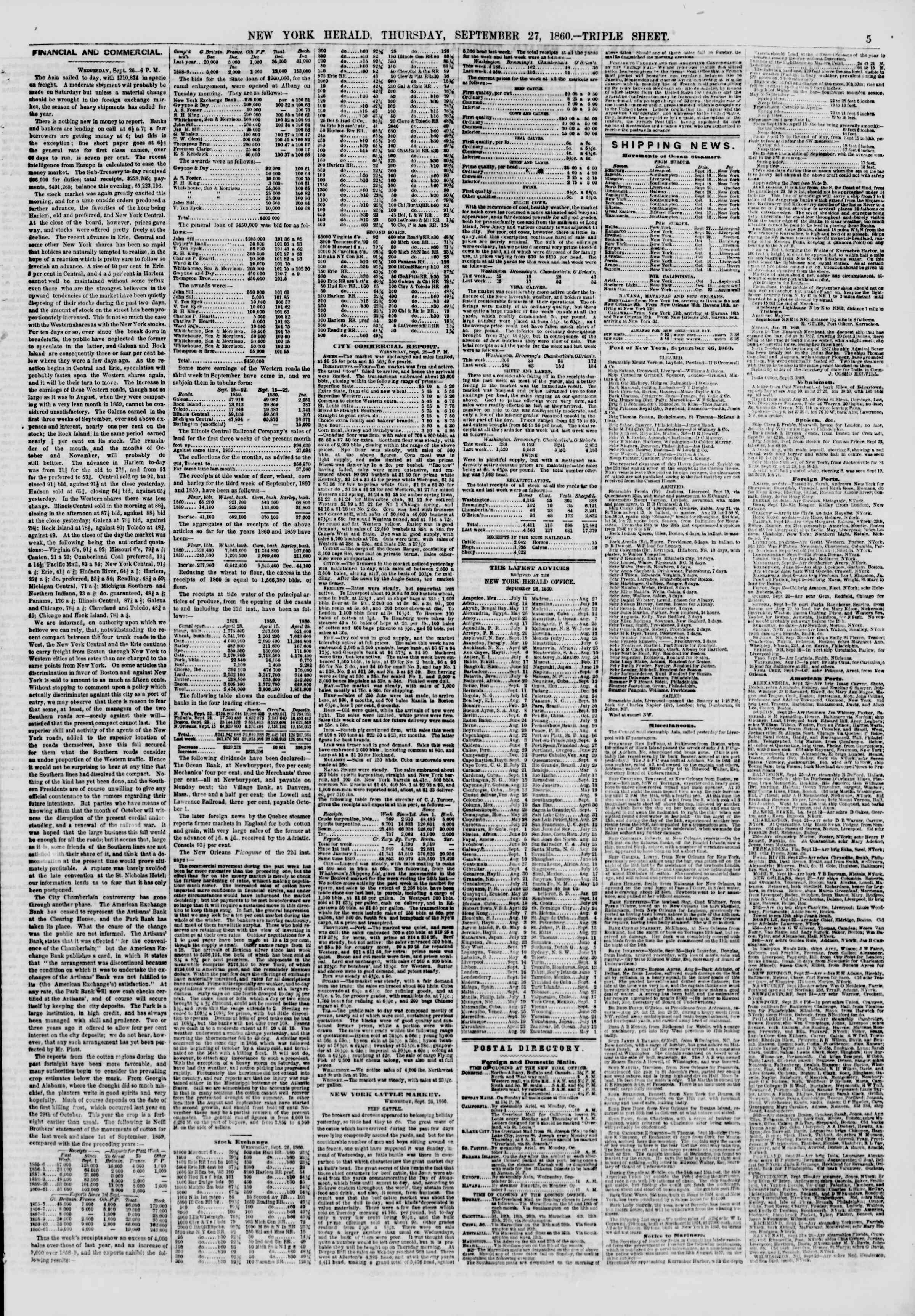 Newspaper of The New York Herald dated September 27, 1860 Page 5