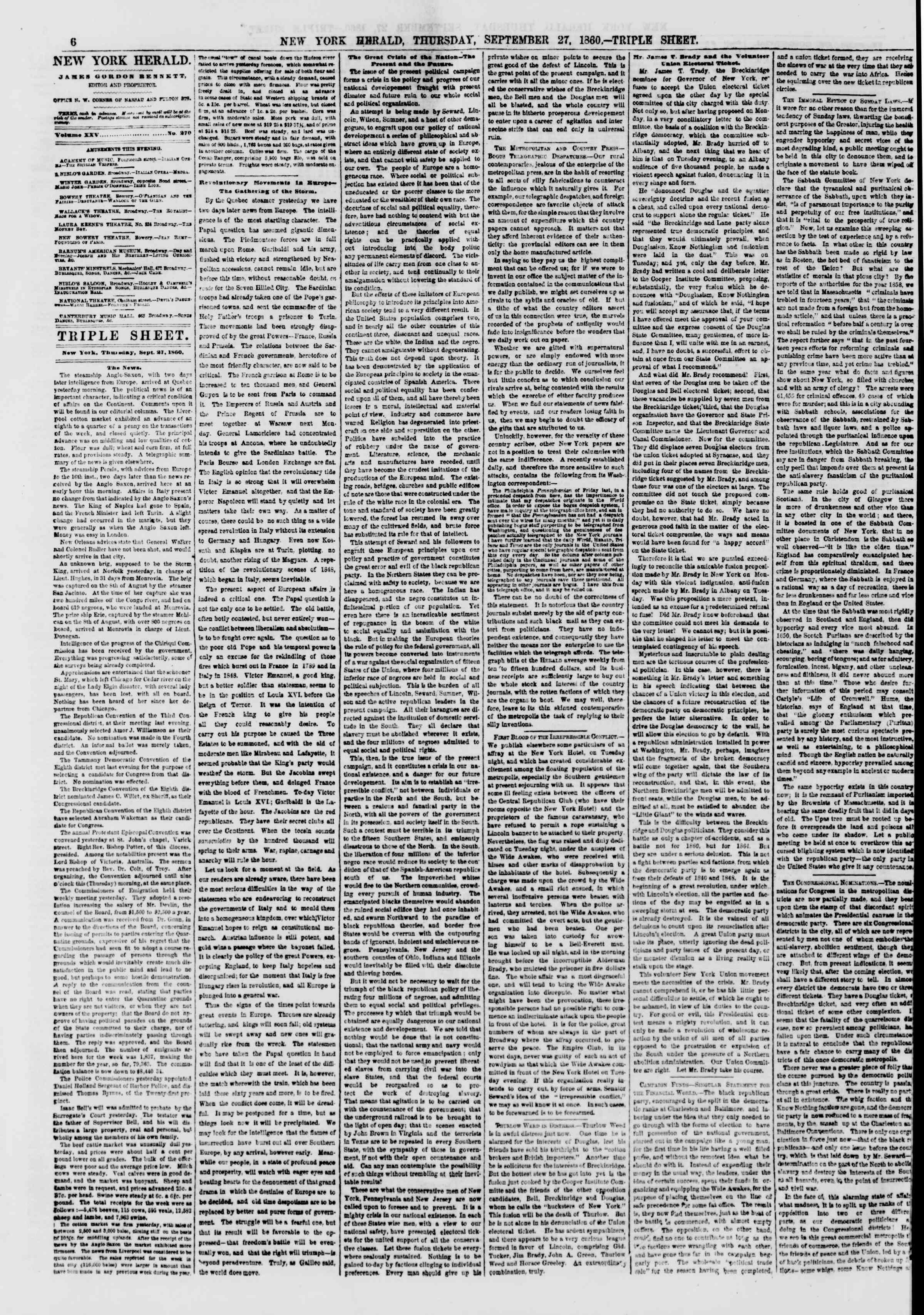 Newspaper of The New York Herald dated September 27, 1860 Page 6
