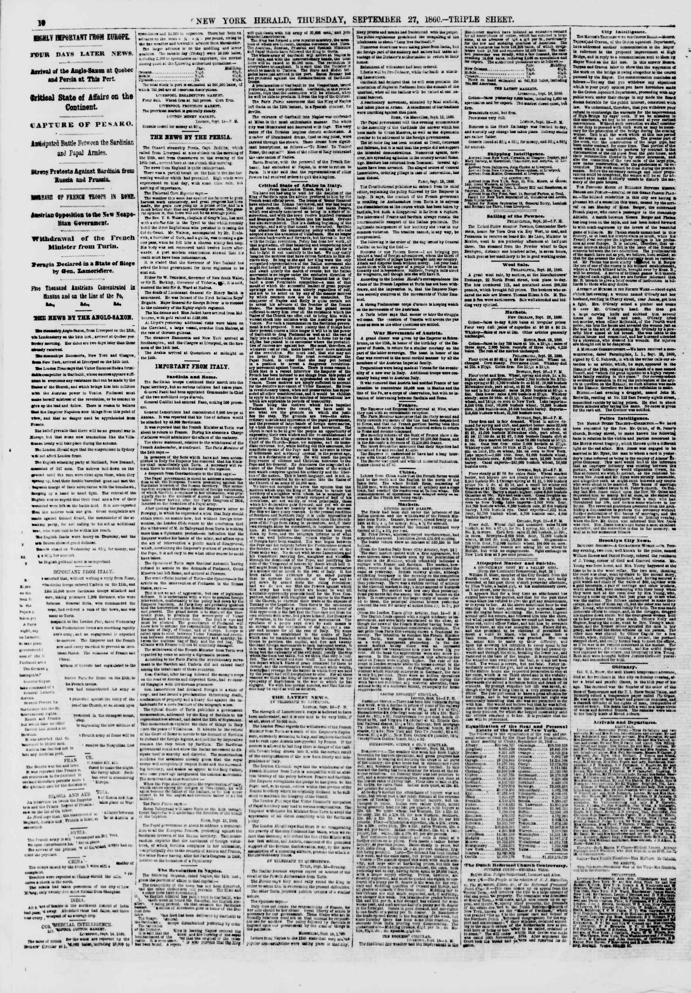 Newspaper of The New York Herald dated September 27, 1860 Page 10