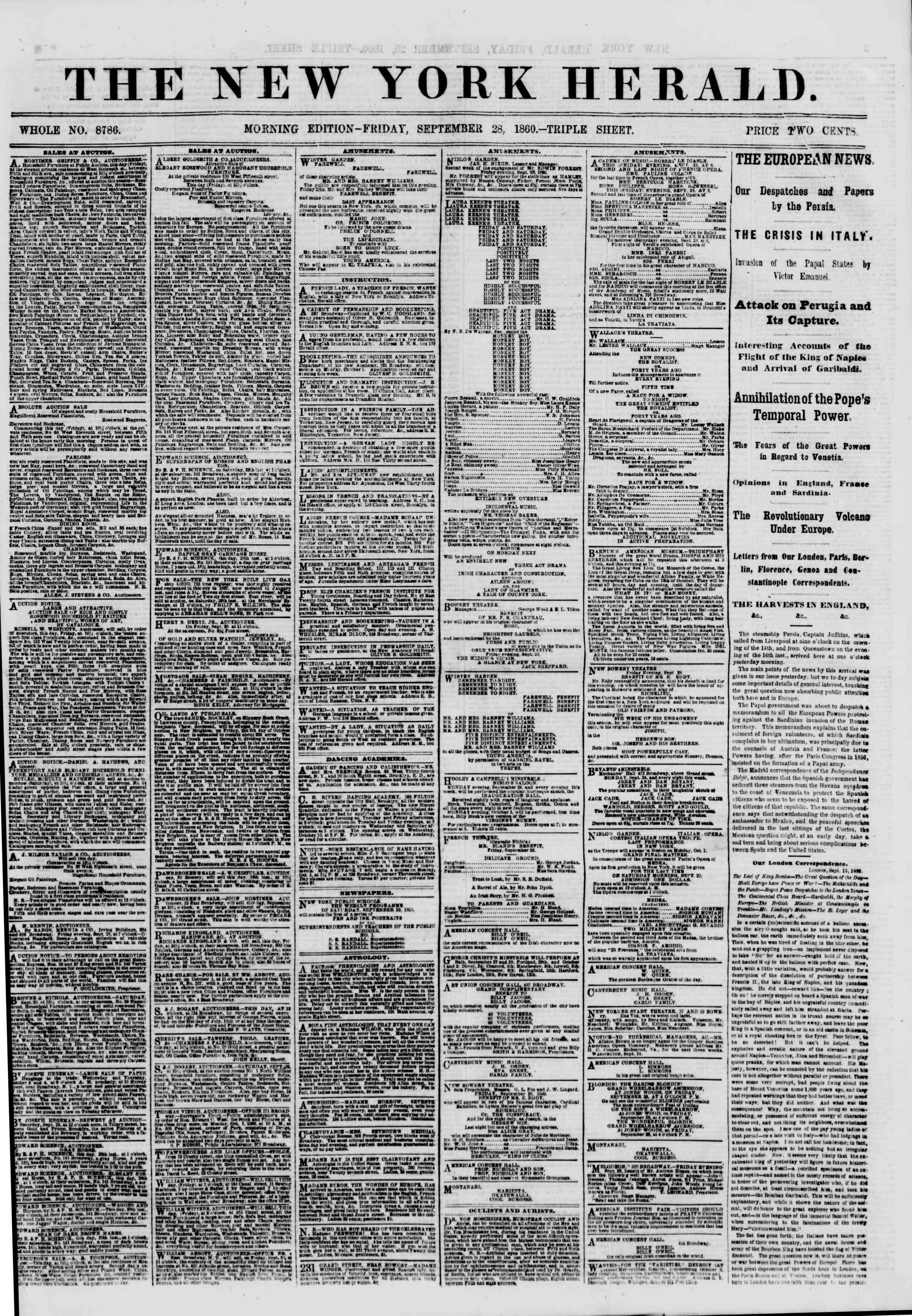 Newspaper of The New York Herald dated September 28, 1860 Page 1