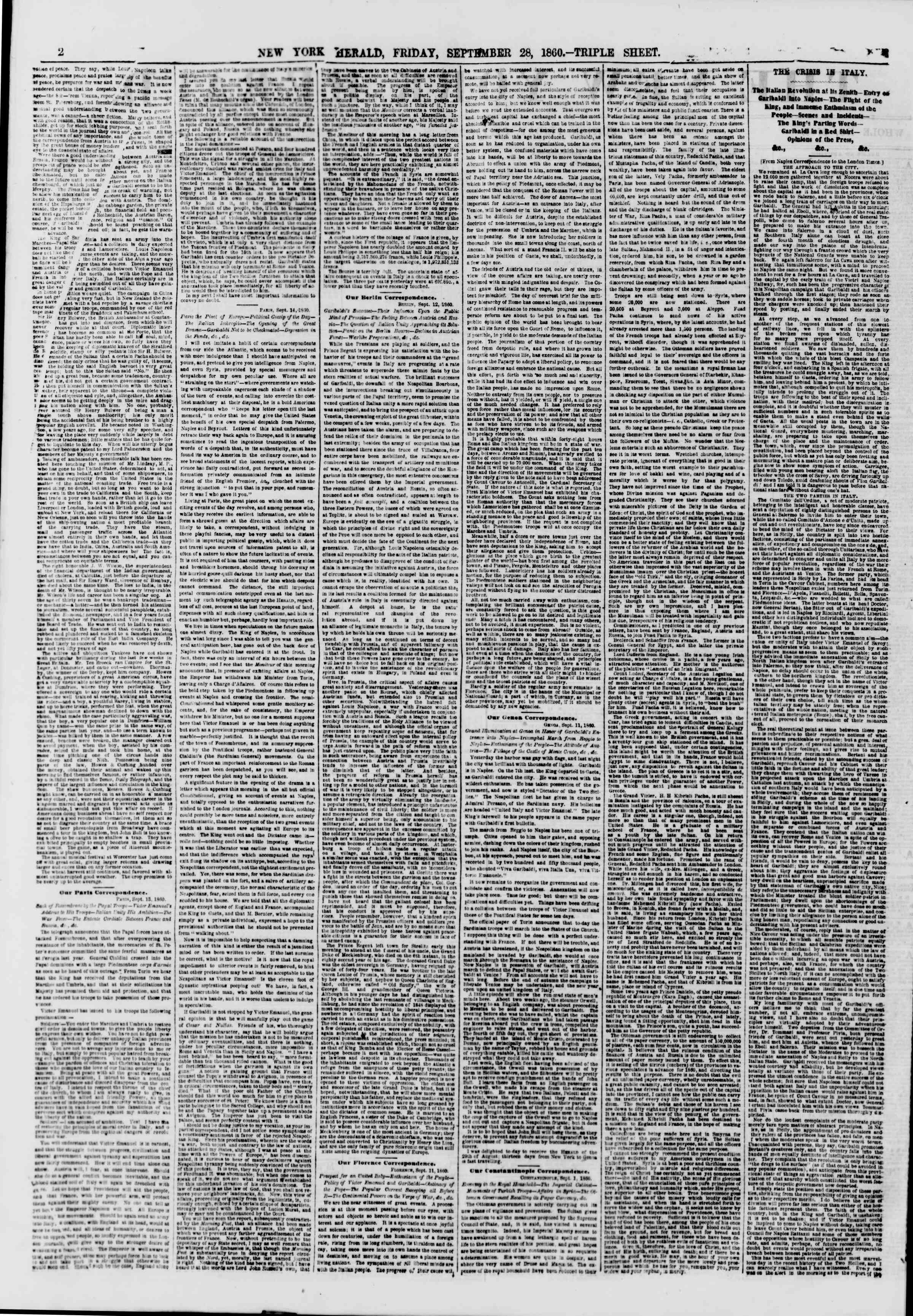 Newspaper of The New York Herald dated September 28, 1860 Page 2