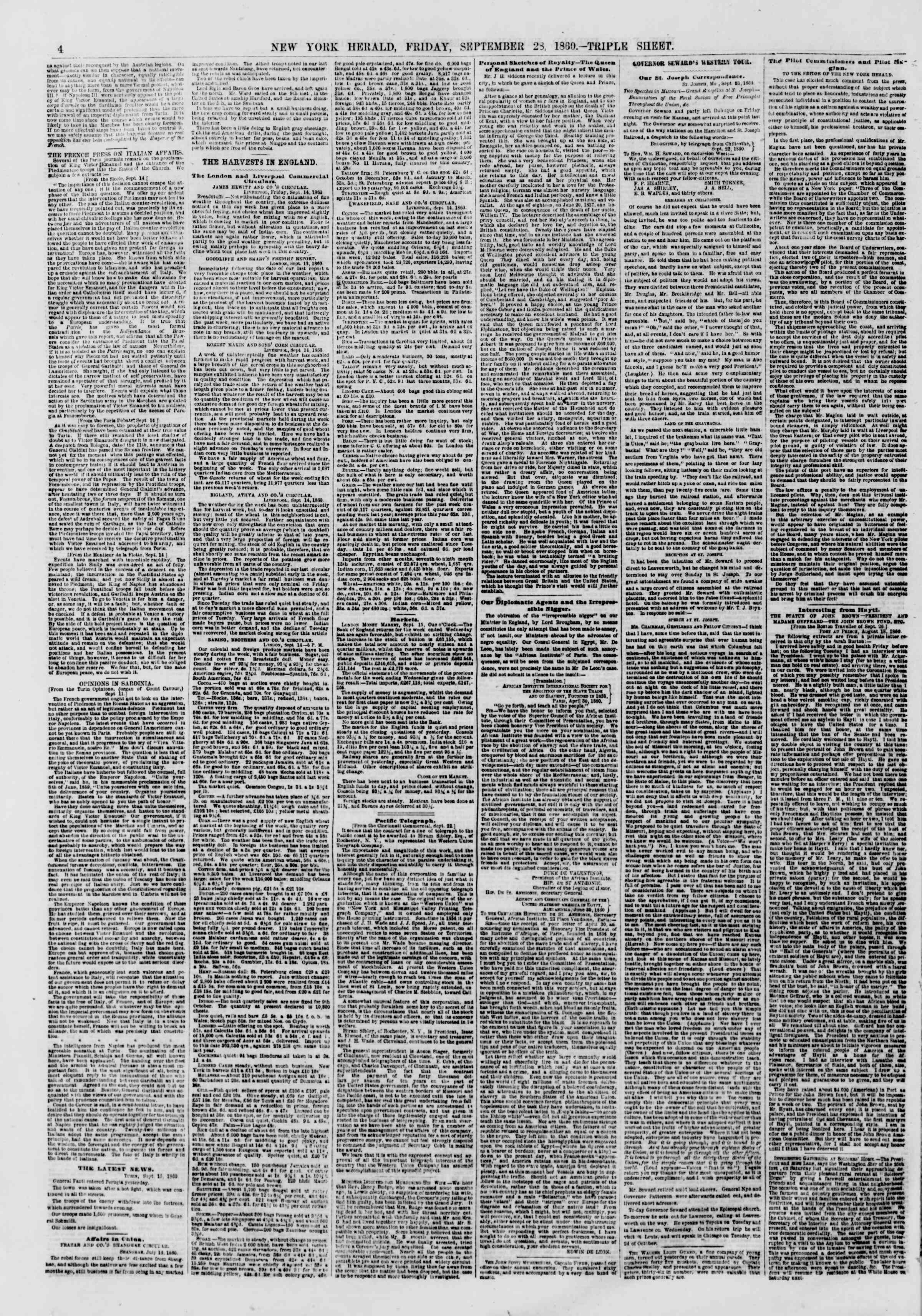 Newspaper of The New York Herald dated September 28, 1860 Page 4