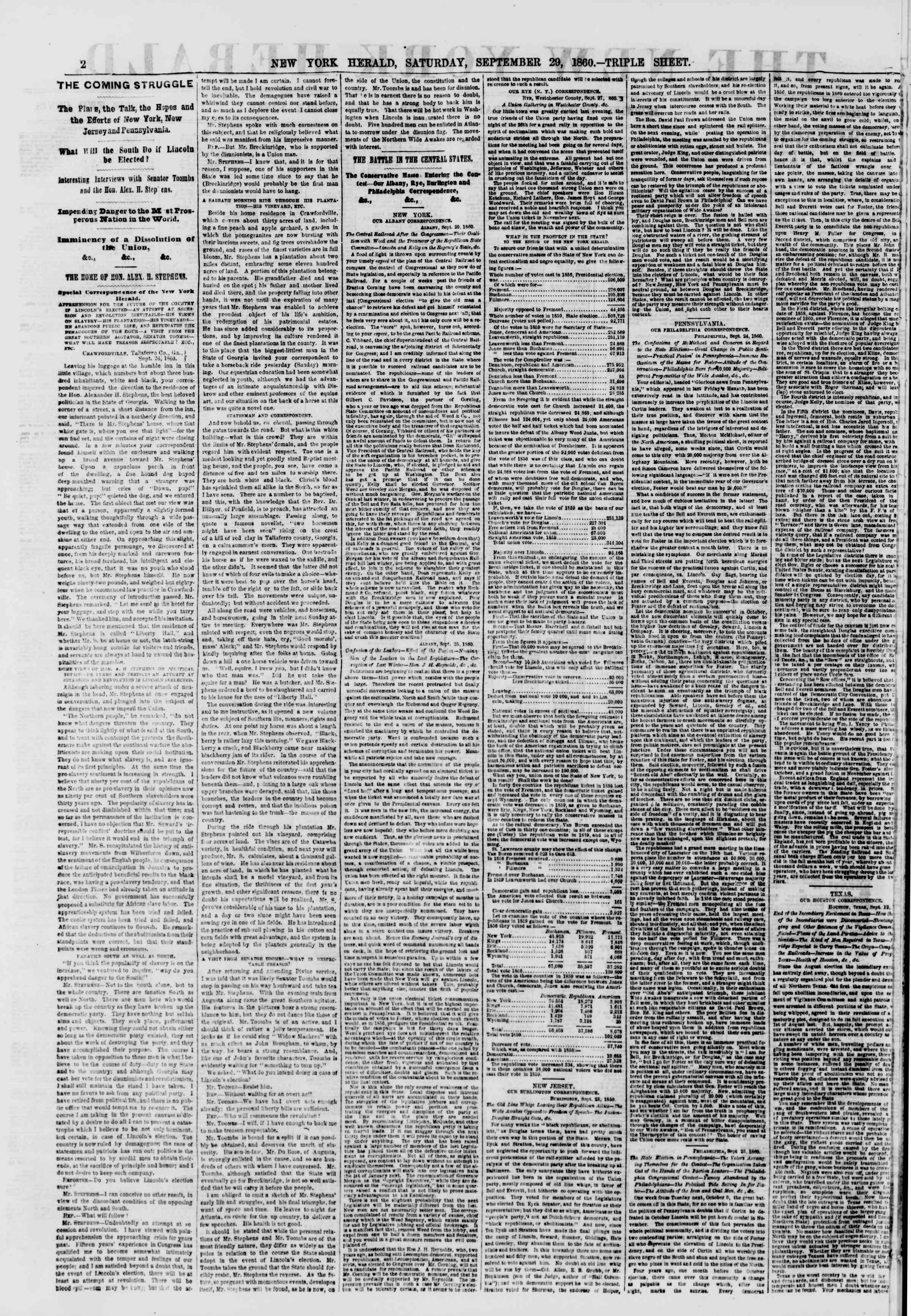 Newspaper of The New York Herald dated September 29, 1860 Page 2