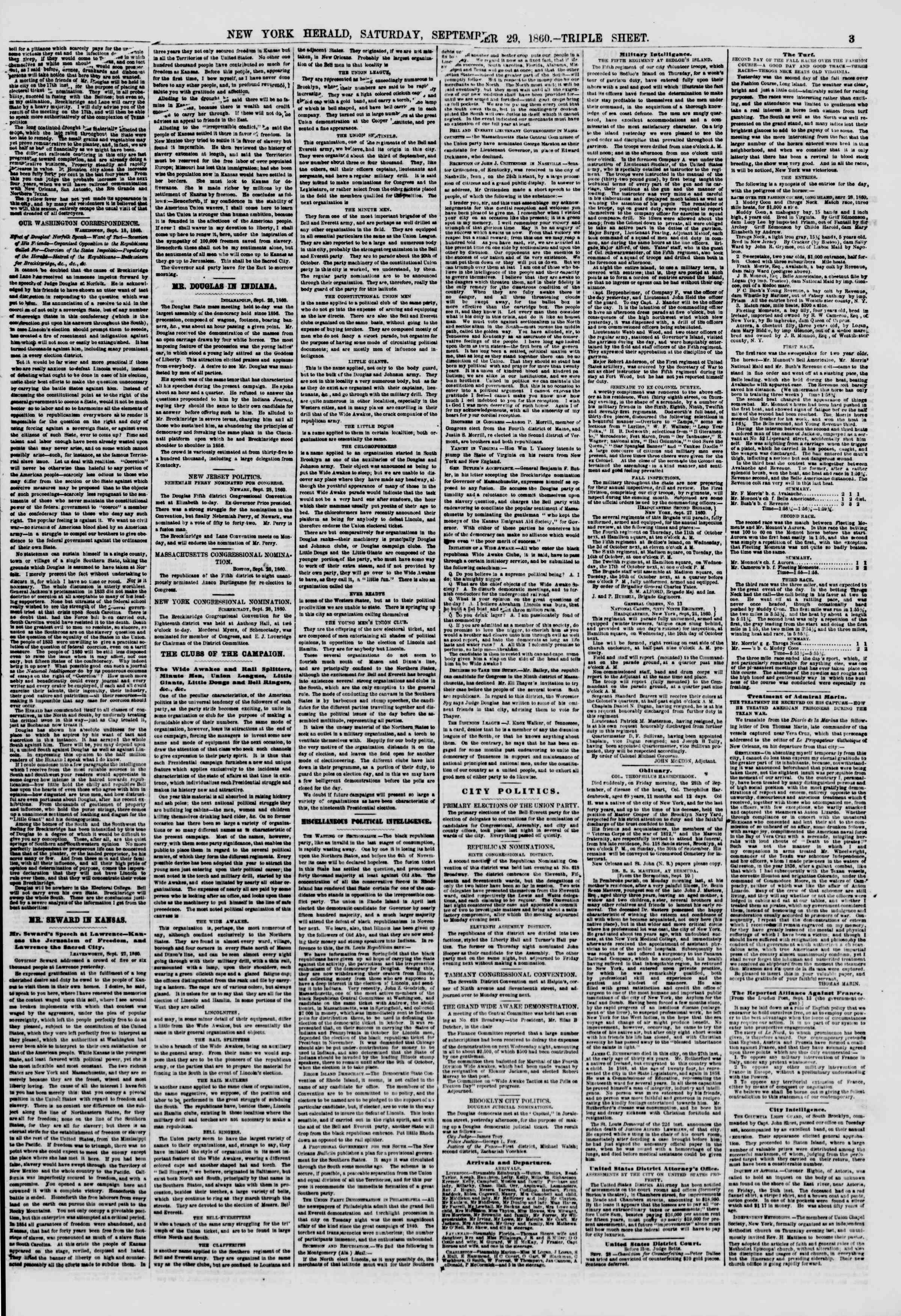 Newspaper of The New York Herald dated September 29, 1860 Page 3