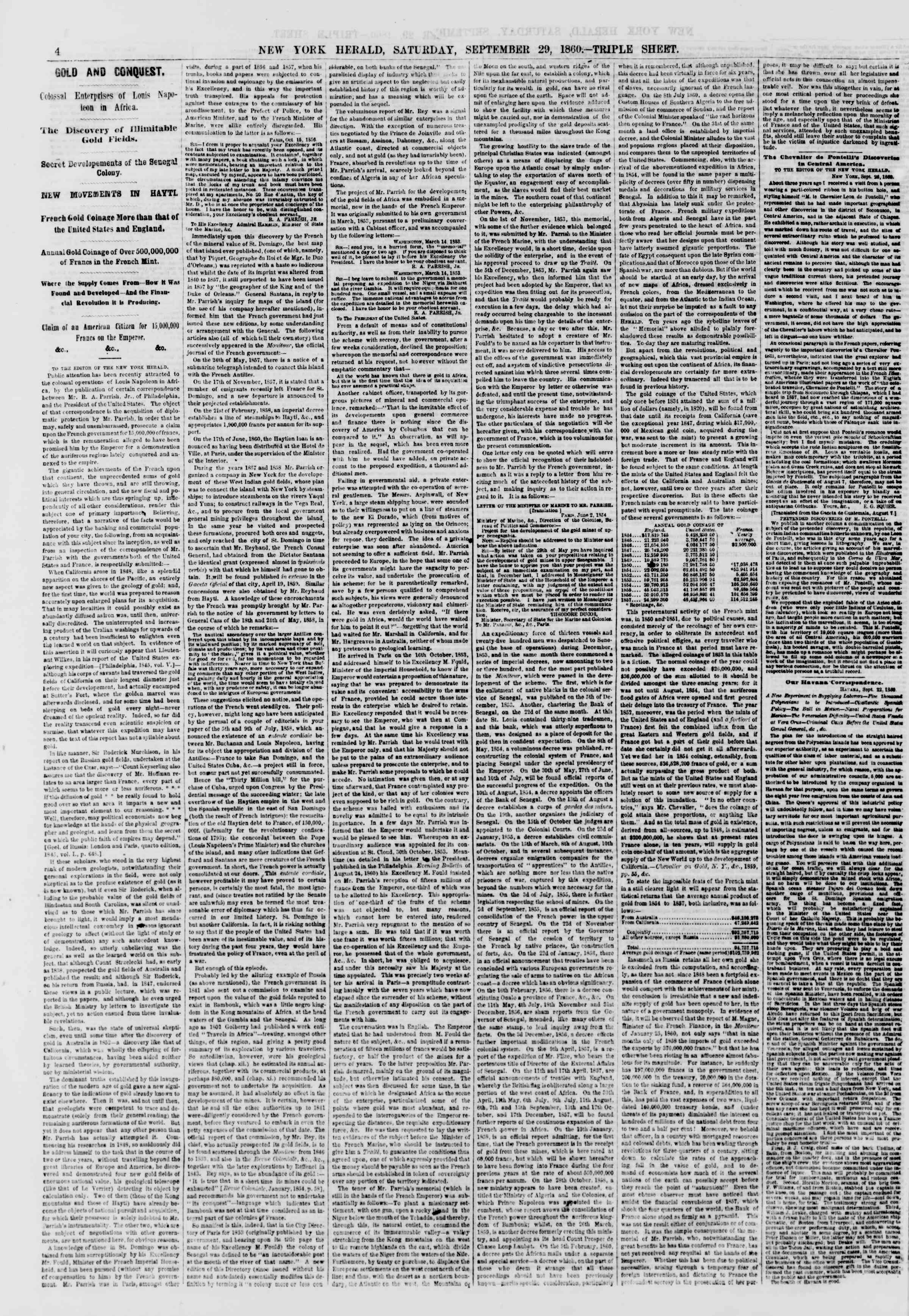 Newspaper of The New York Herald dated September 29, 1860 Page 4
