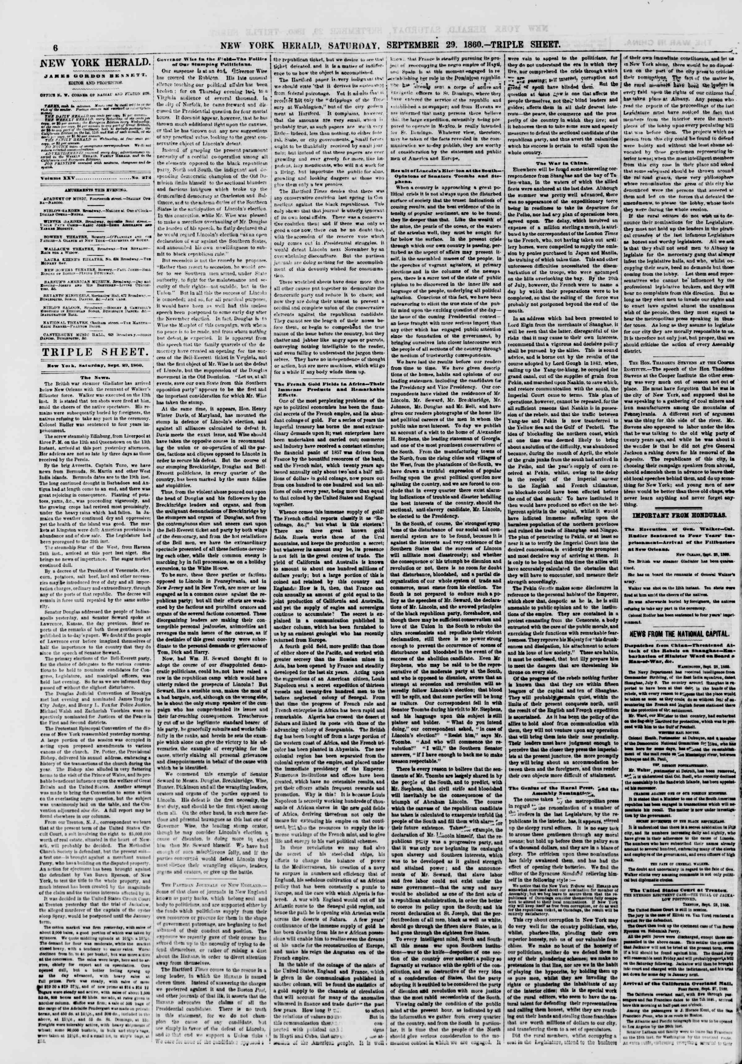 Newspaper of The New York Herald dated September 29, 1860 Page 6
