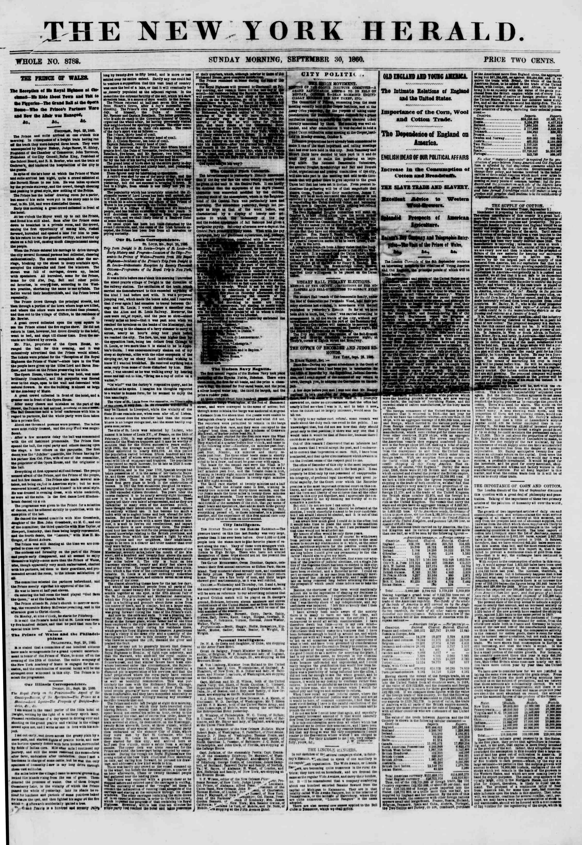Newspaper of The New York Herald dated September 30, 1860 Page 1