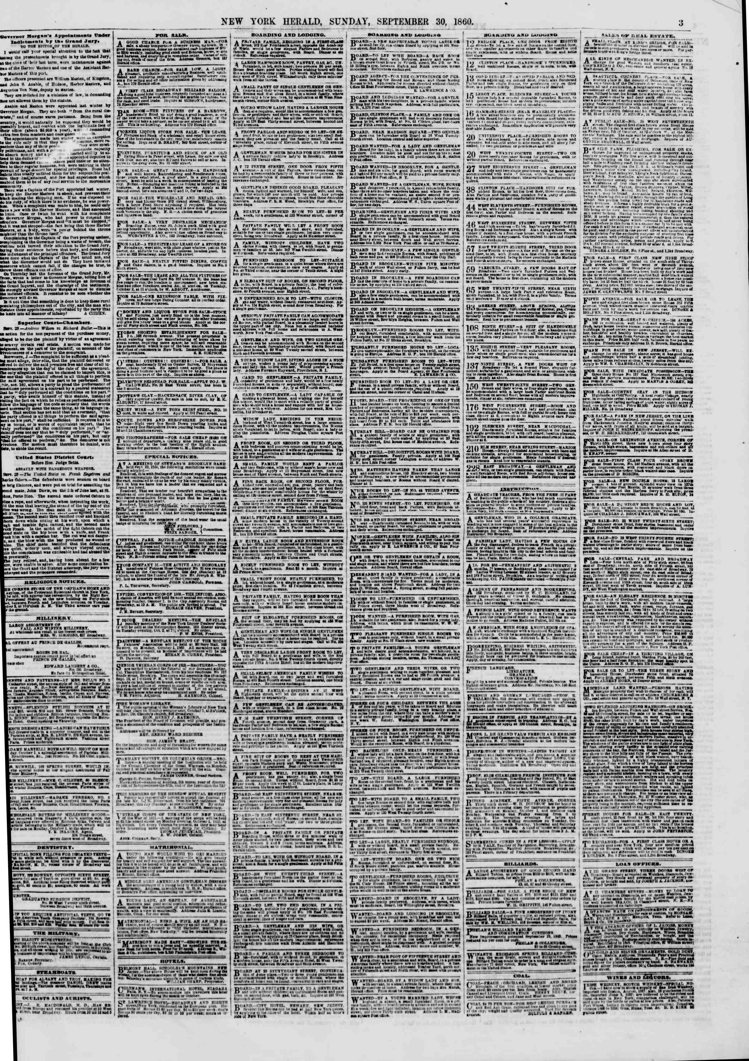 Newspaper of The New York Herald dated September 30, 1860 Page 3