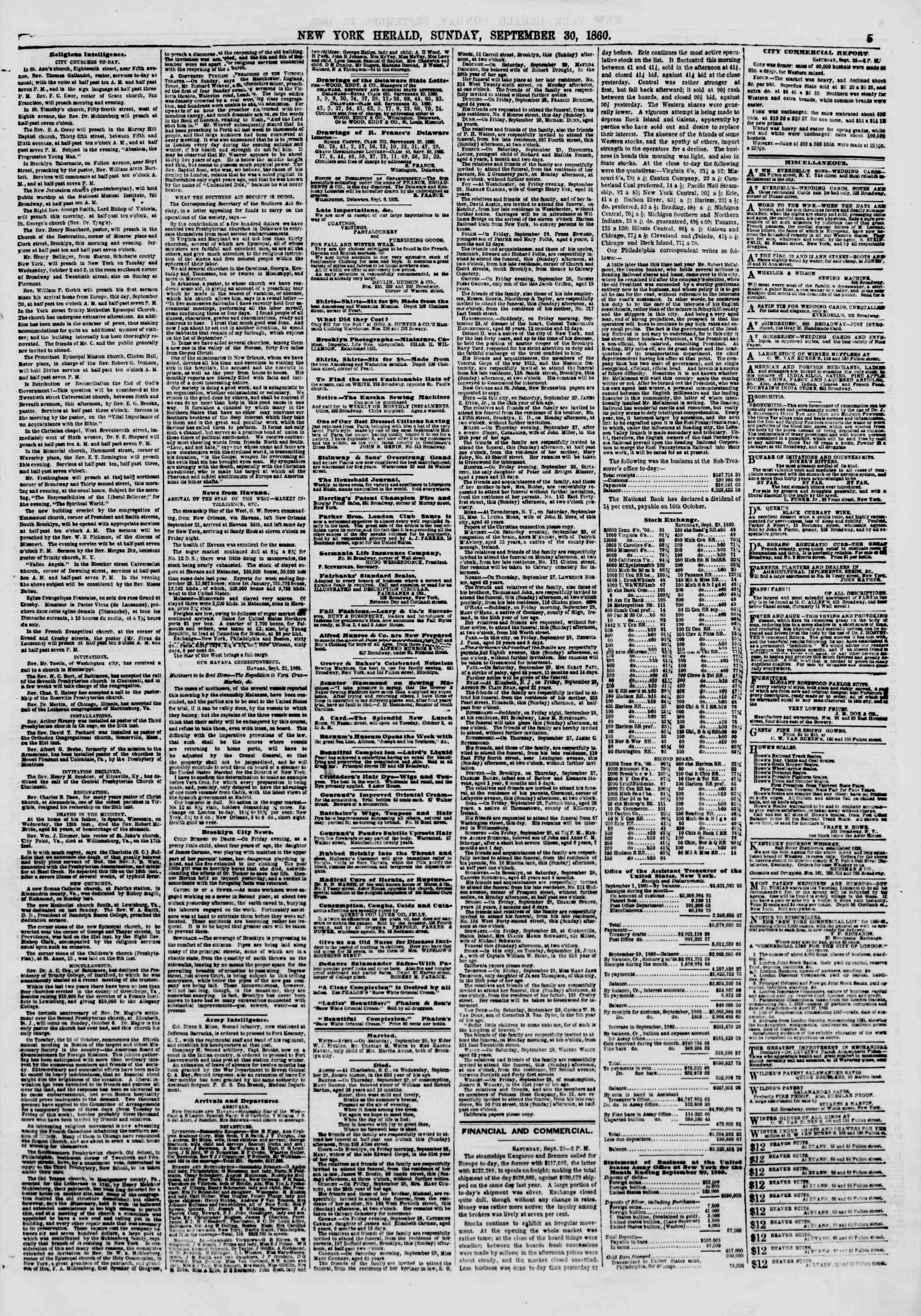 Newspaper of The New York Herald dated September 30, 1860 Page 5