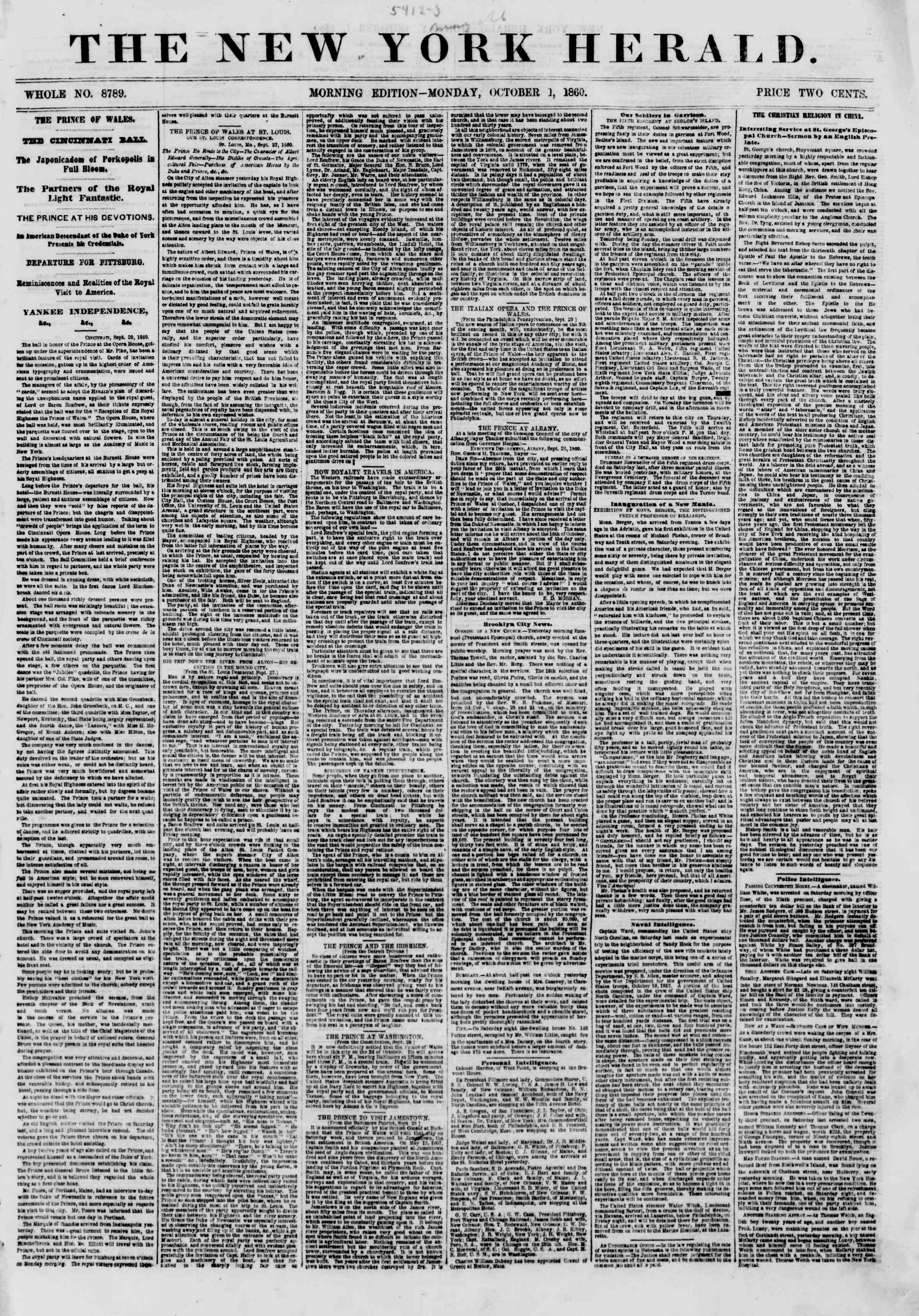 Newspaper of The New York Herald dated October 1, 1860 Page 1