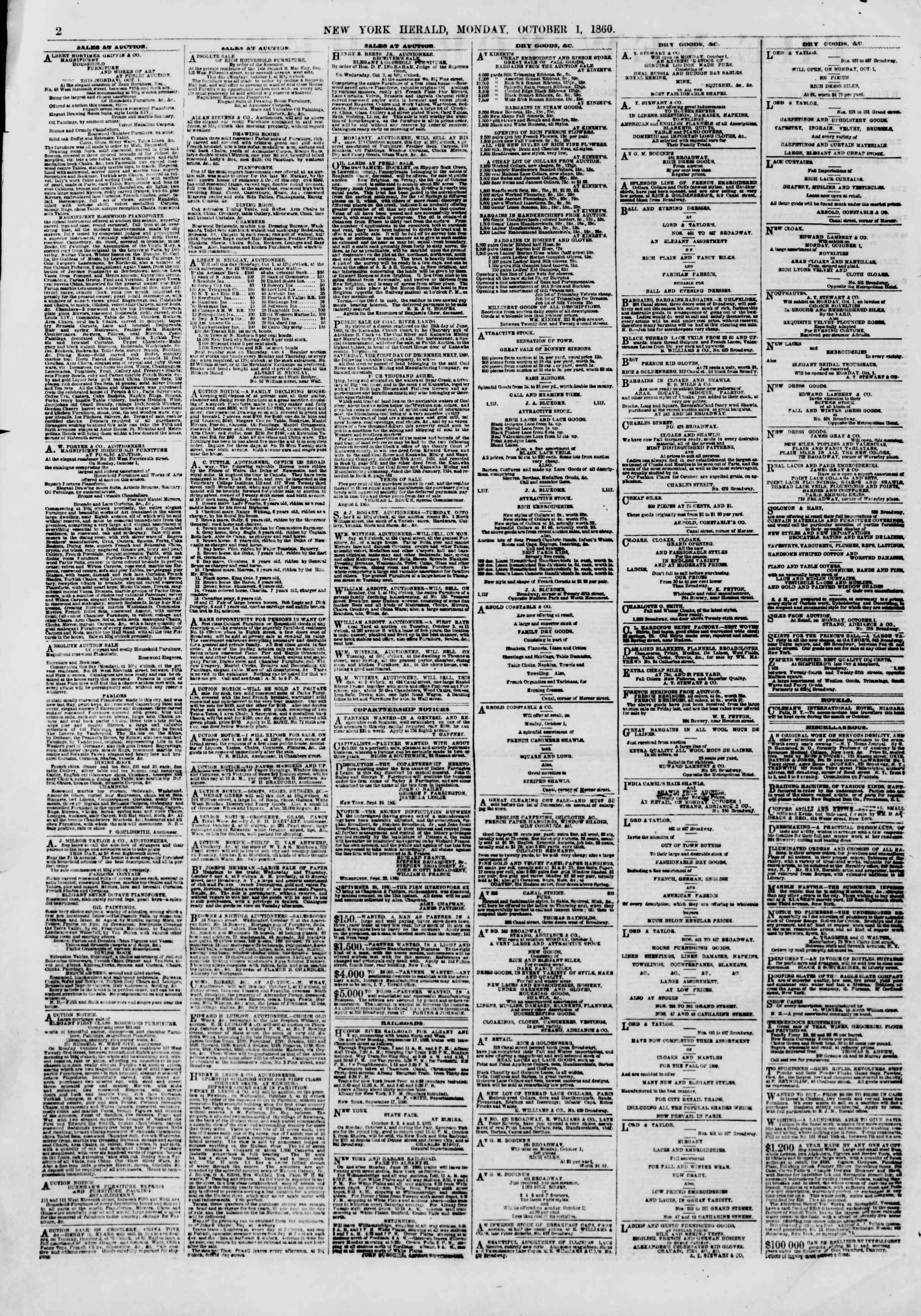 Newspaper of The New York Herald dated October 1, 1860 Page 2