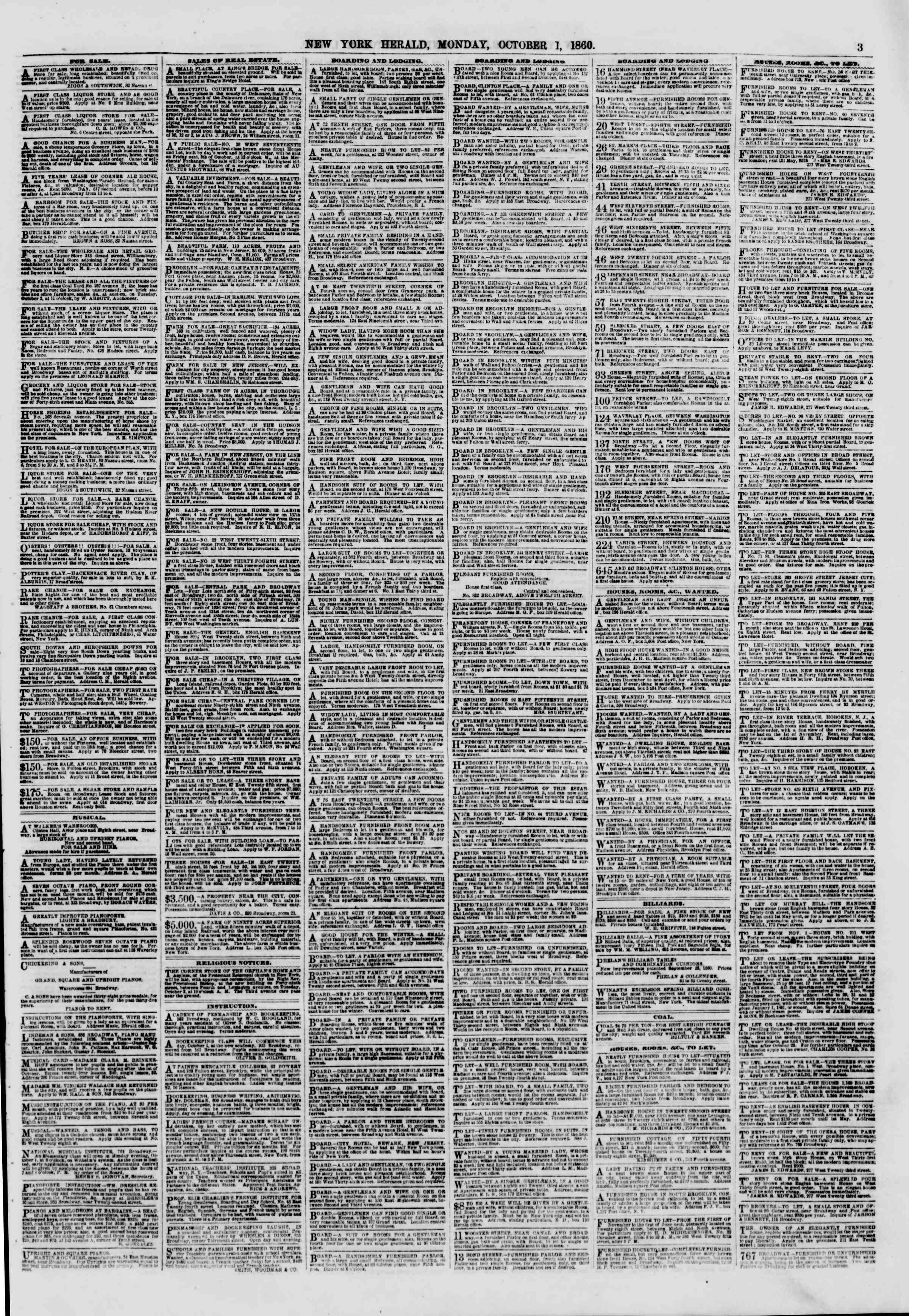 Newspaper of The New York Herald dated 1 Ekim 1860 Page 3