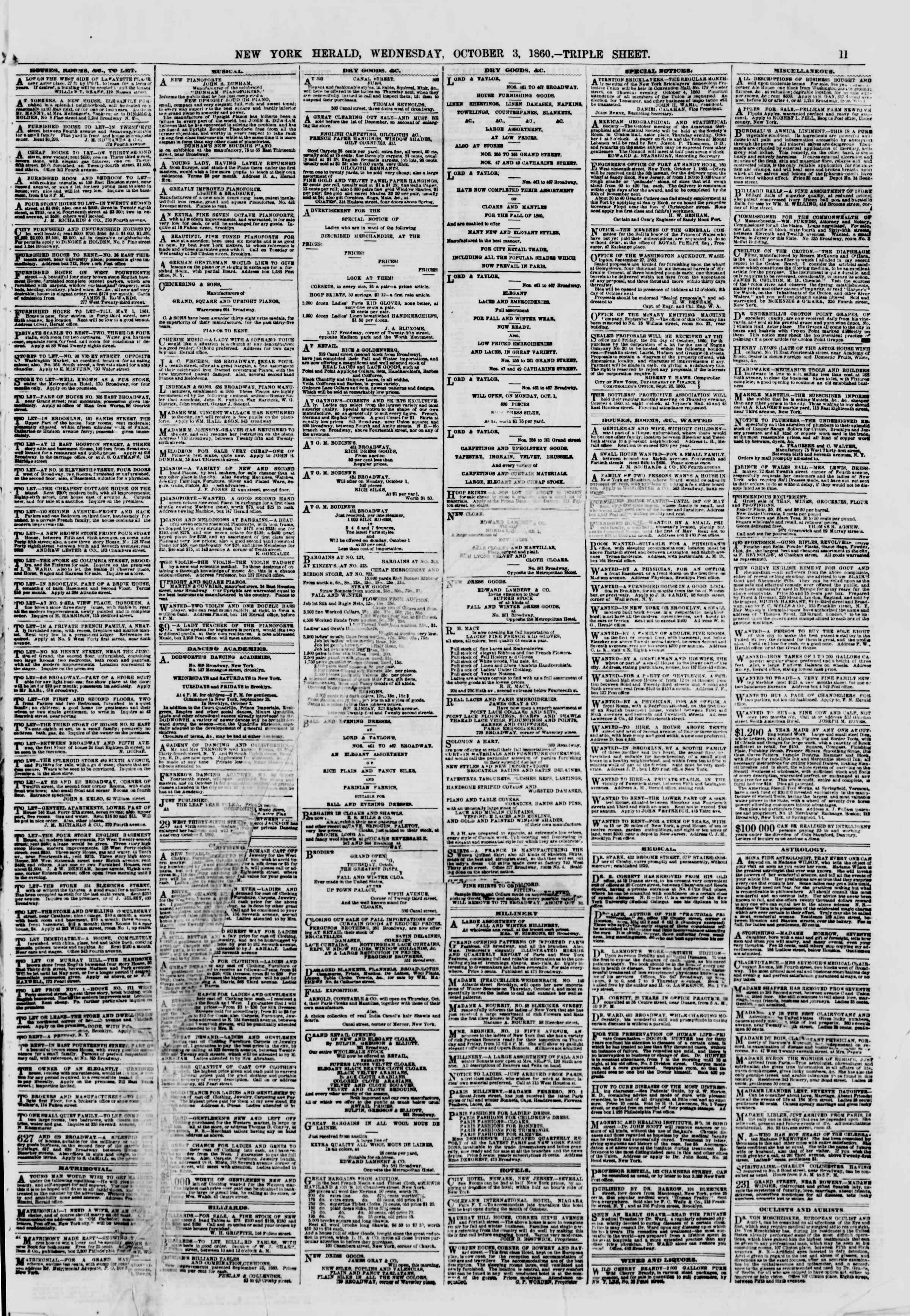 Newspaper of The New York Herald dated October 3, 1860 Page 11