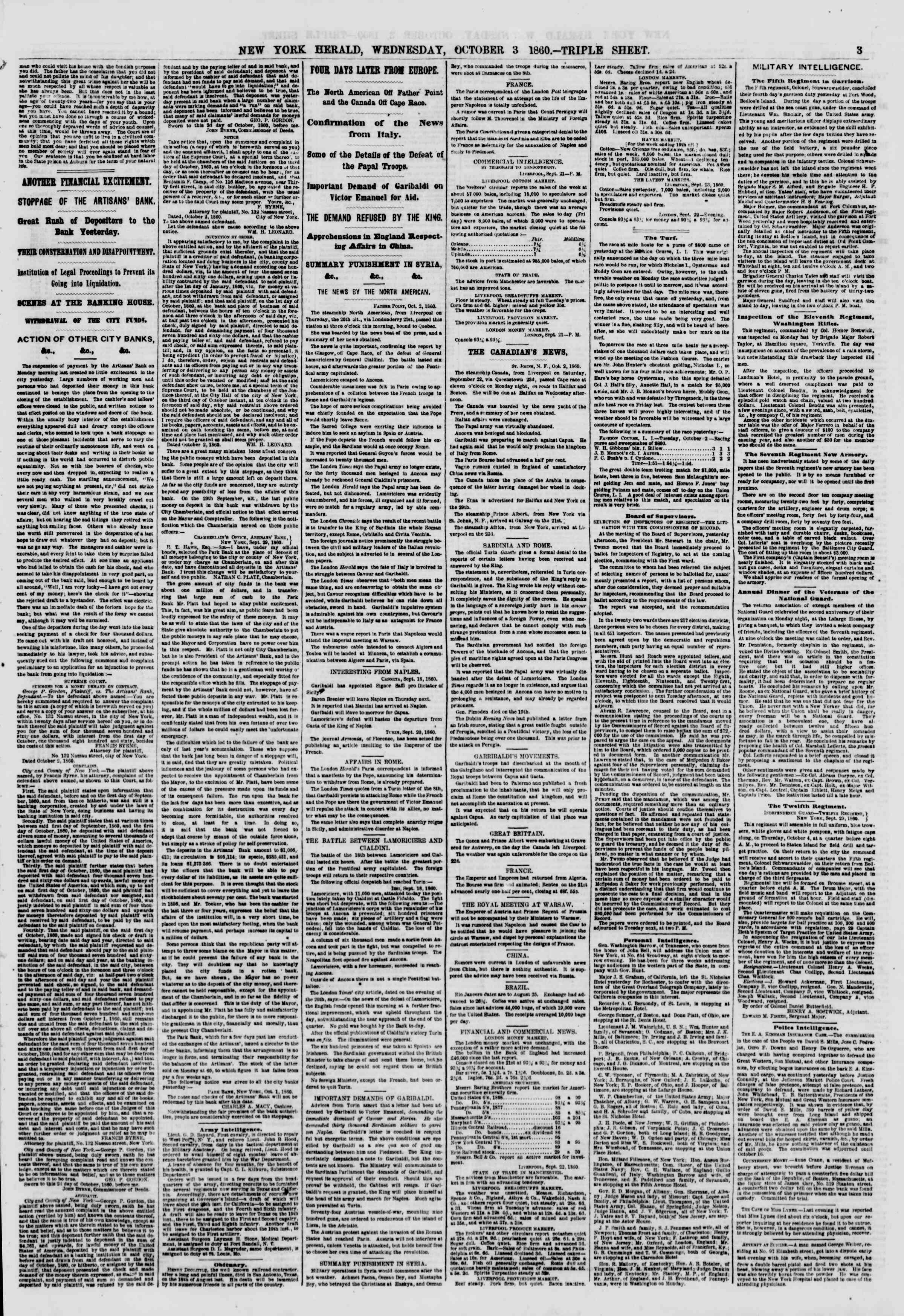 Newspaper of The New York Herald dated October 3, 1860 Page 3