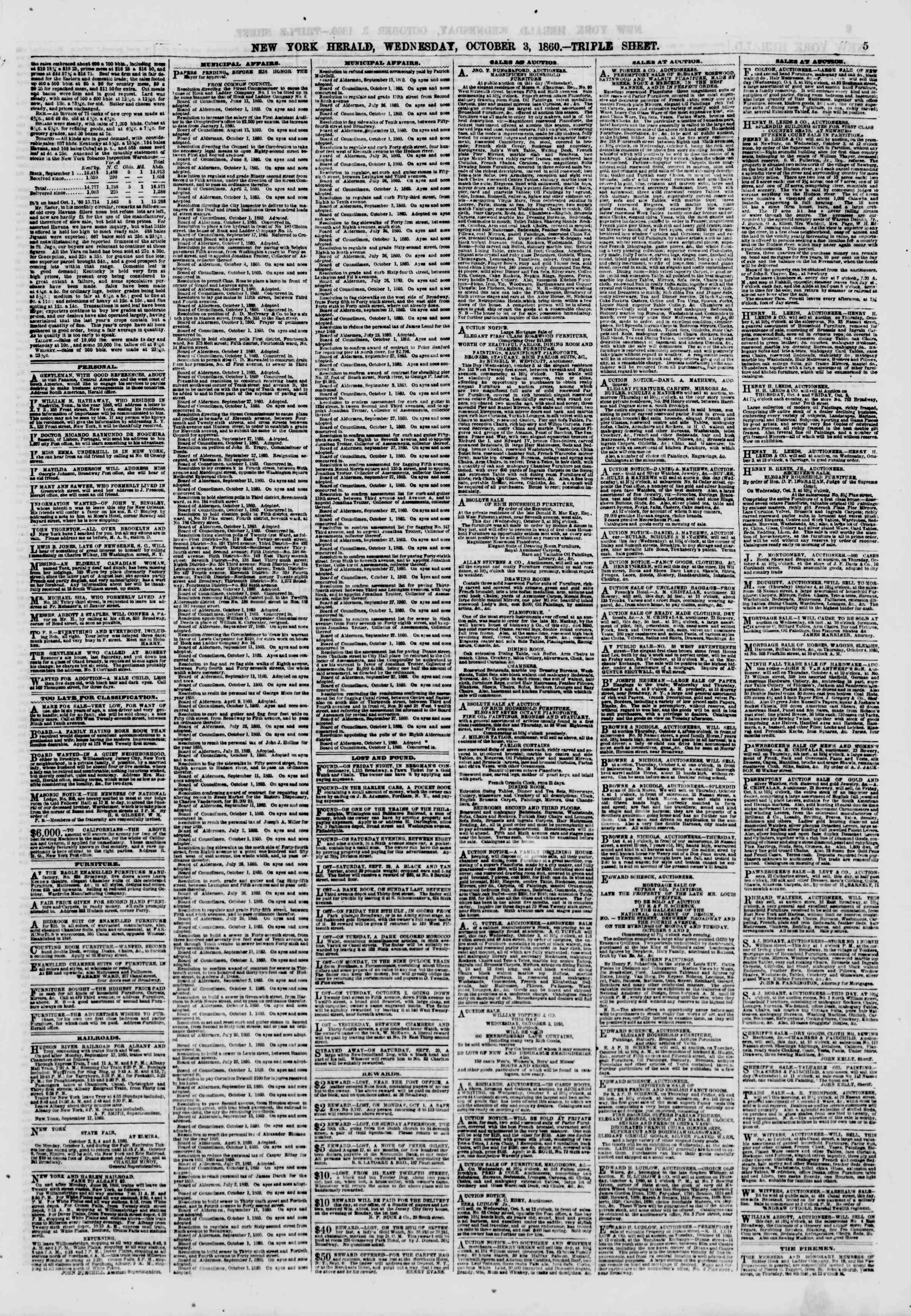 Newspaper of The New York Herald dated October 3, 1860 Page 5