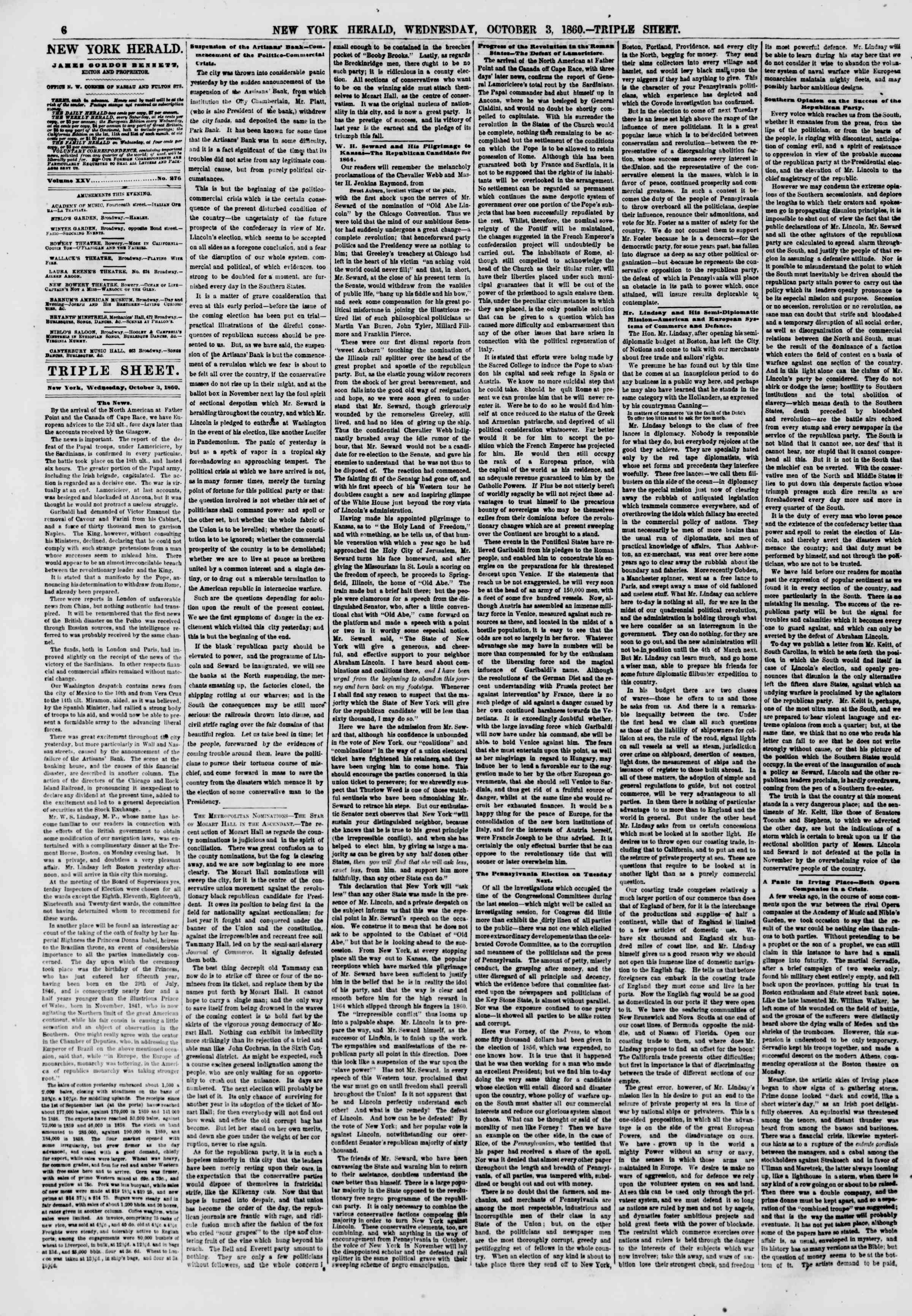 Newspaper of The New York Herald dated October 3, 1860 Page 6