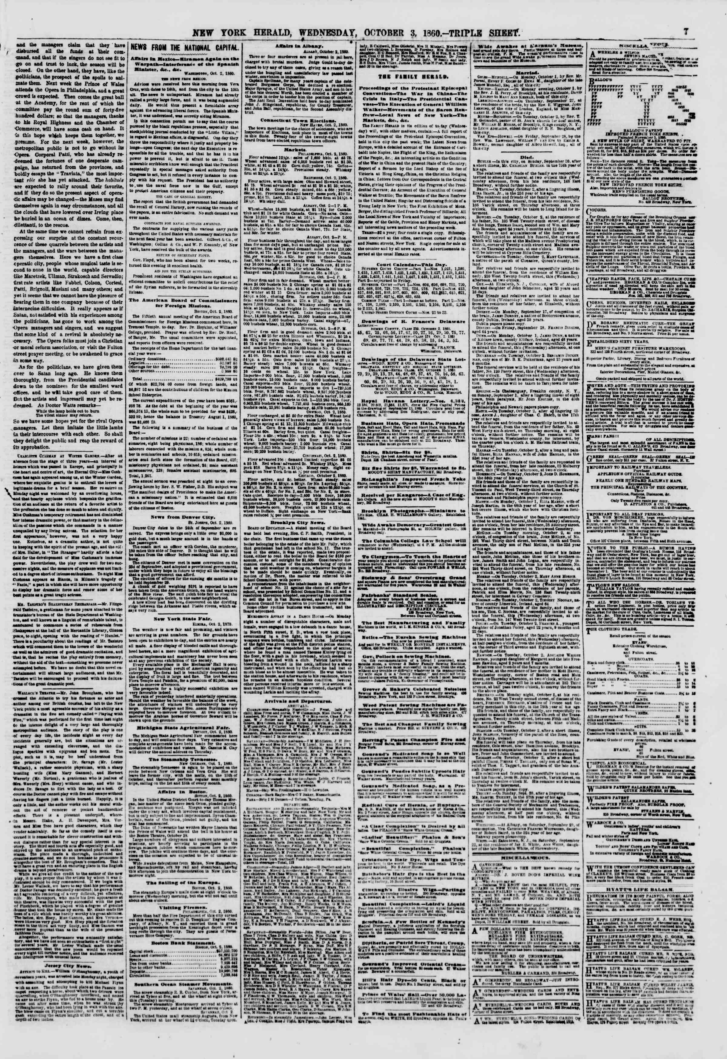 Newspaper of The New York Herald dated October 3, 1860 Page 7