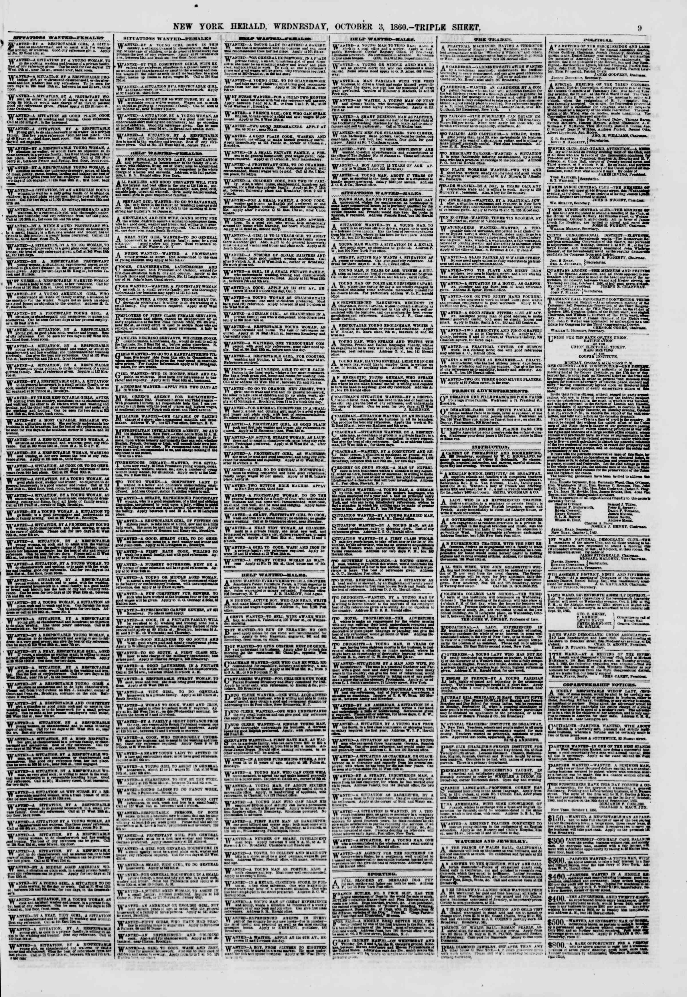 Newspaper of The New York Herald dated October 3, 1860 Page 9