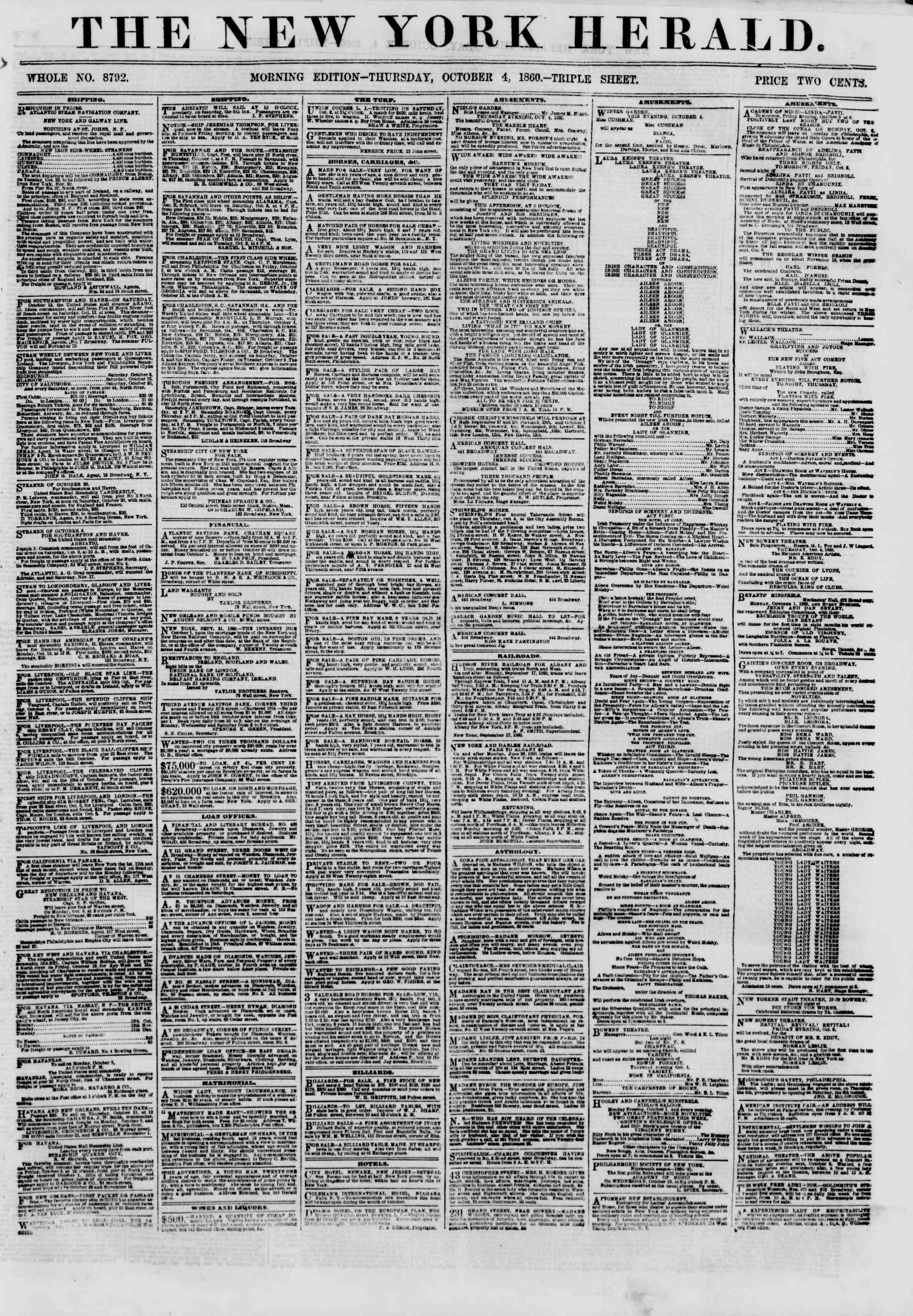 Newspaper of The New York Herald dated October 4, 1860 Page 1