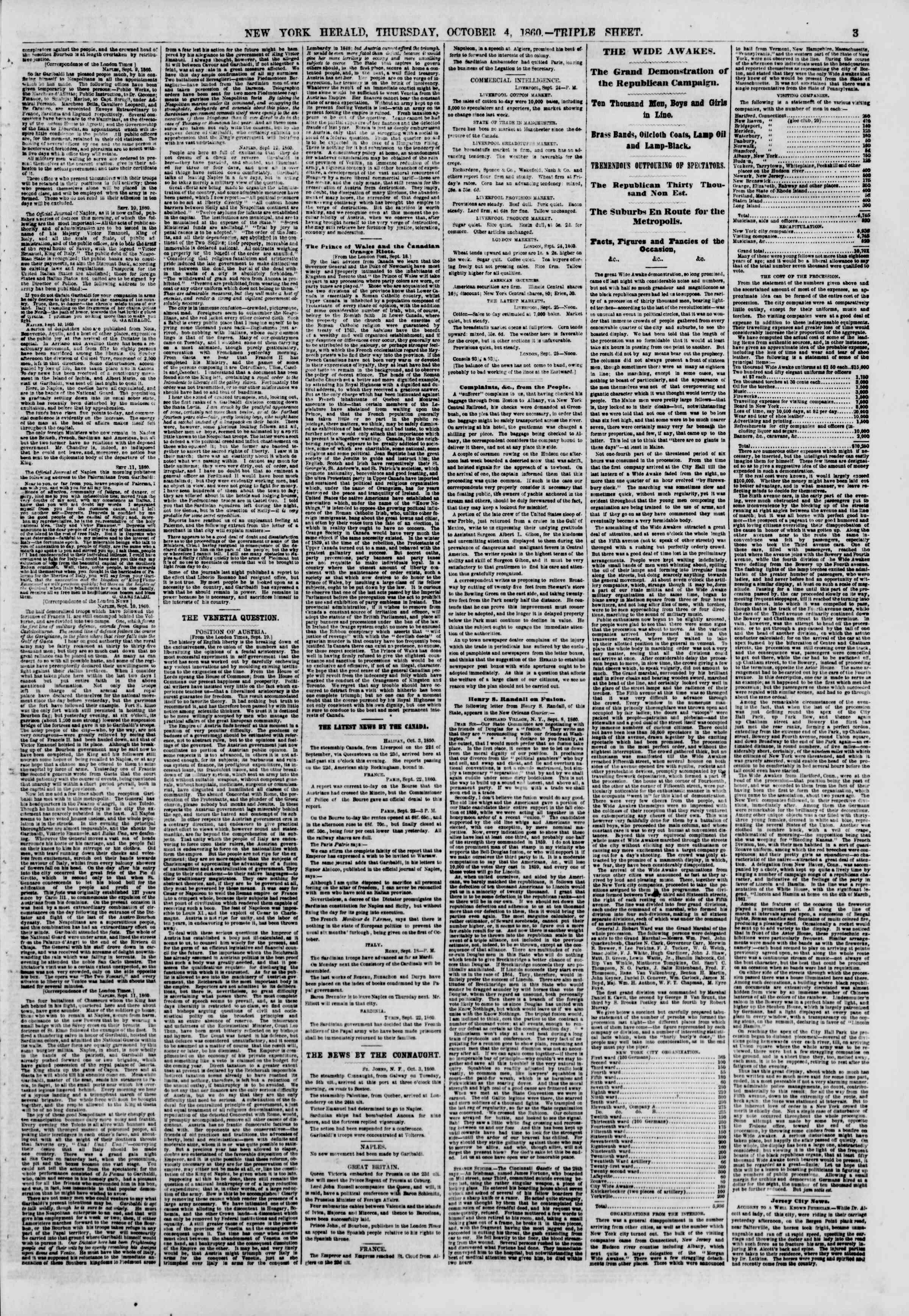 4 Ekim 1860 tarihli The New York Herald Gazetesi Sayfa 3