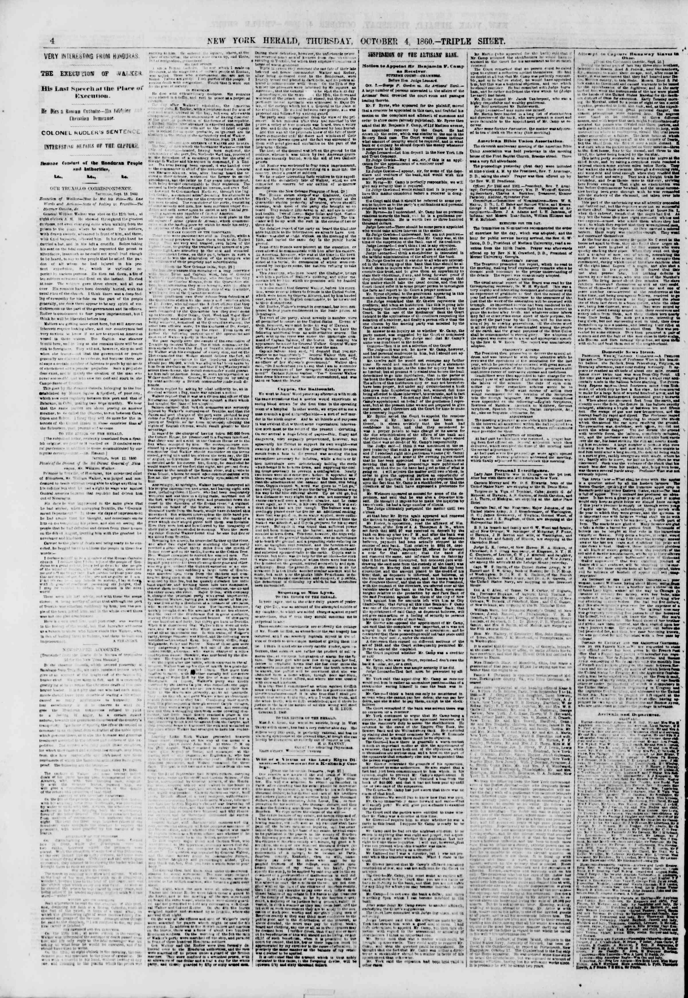 Newspaper of The New York Herald dated October 4, 1860 Page 4
